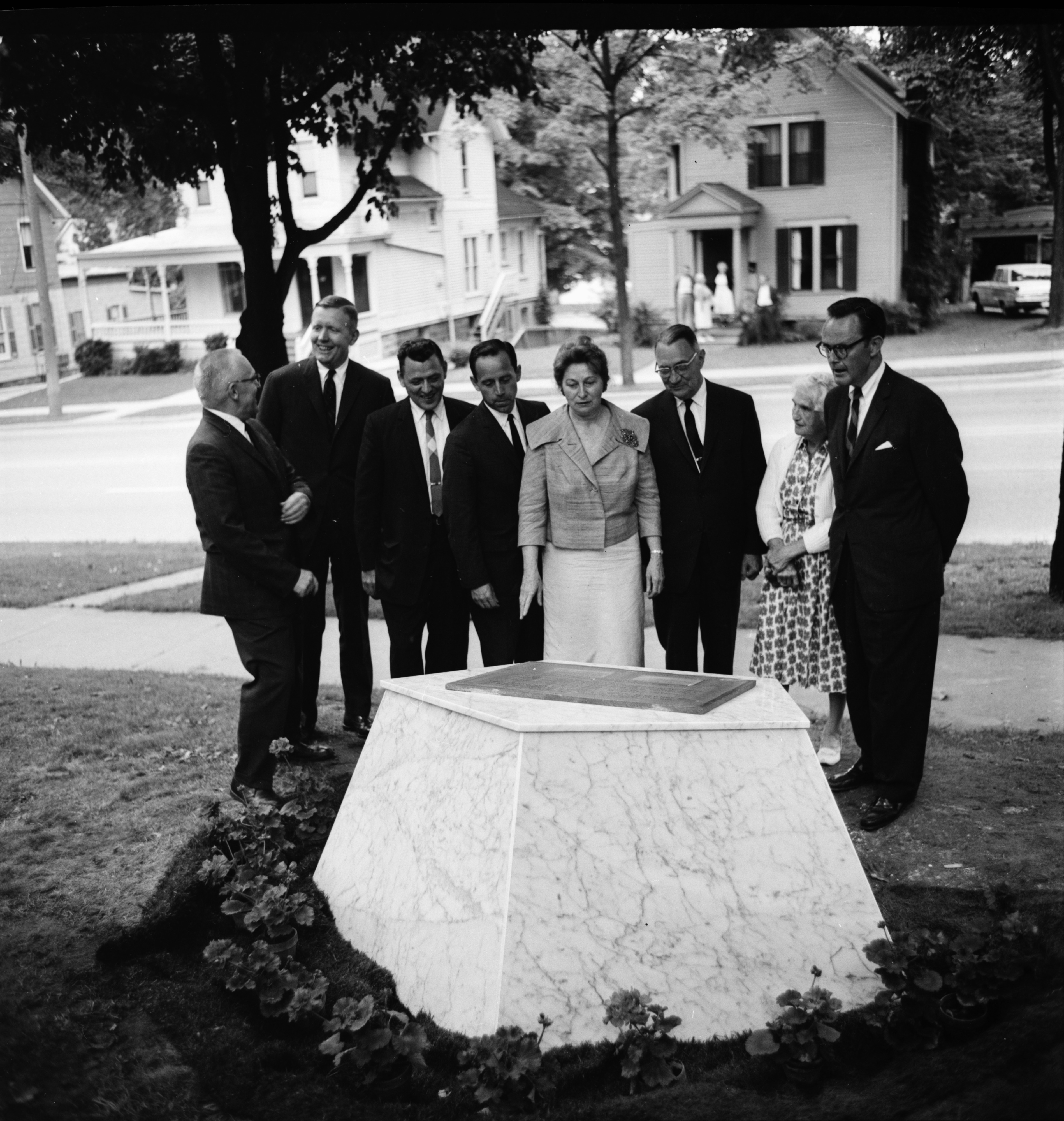 In front of the Time Capsule on Huron Street Lawn, June 1962 image