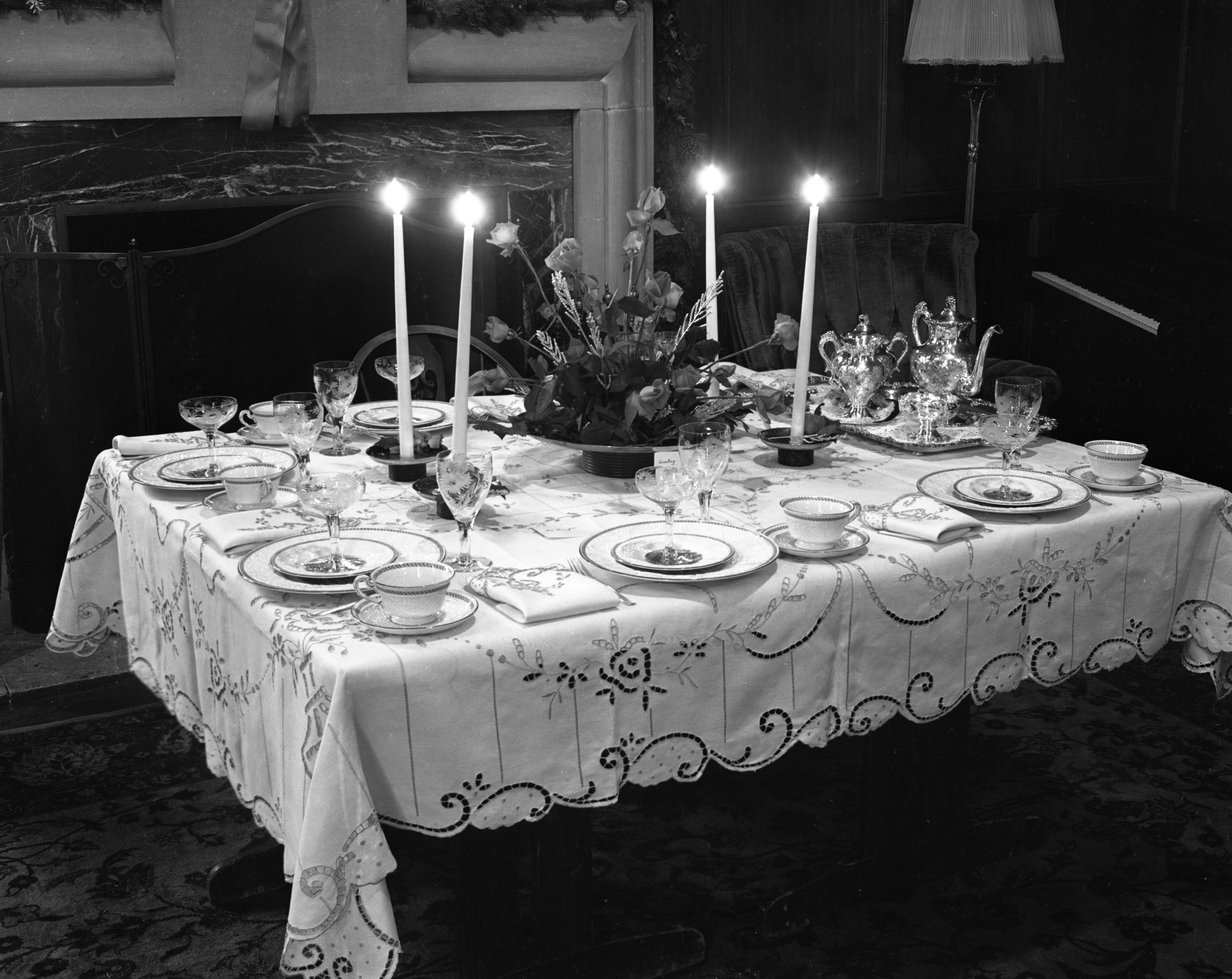 christmas table decorations at the womens club december 1941