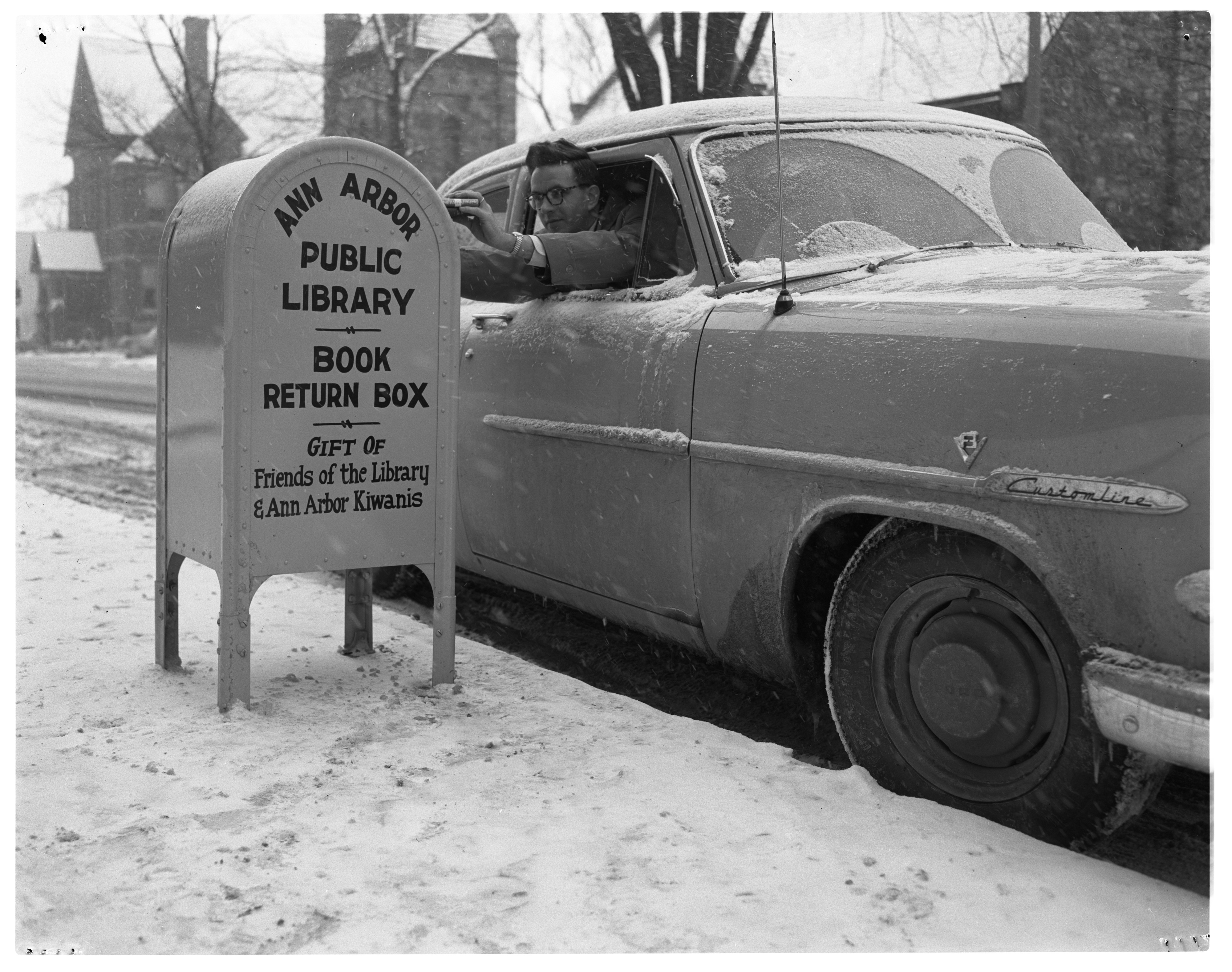 Ann Arbor Public Library's New Drop Box, December 1953 image