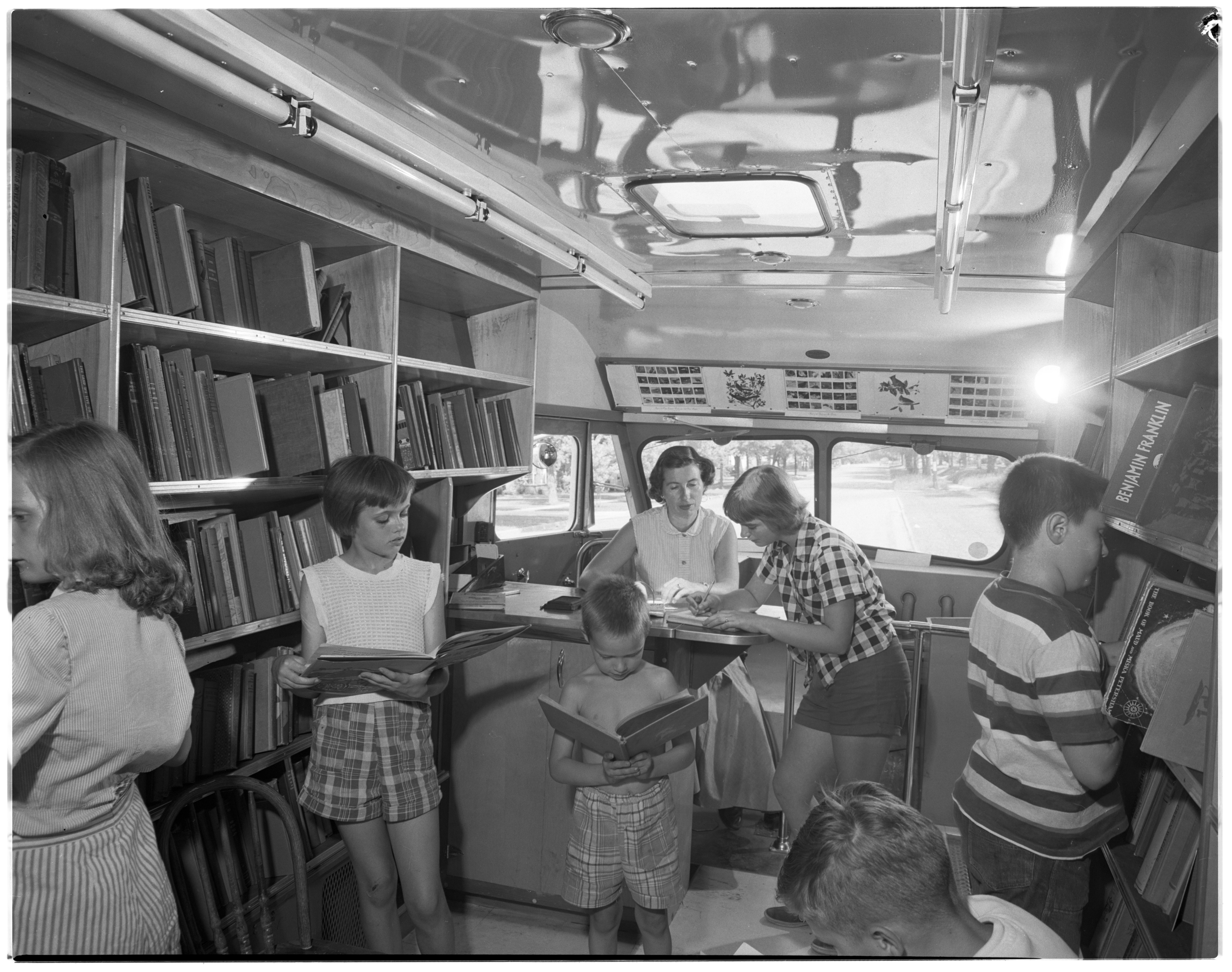 Ann Arbor Public Library Bookmobile Browsers, July 1954 image