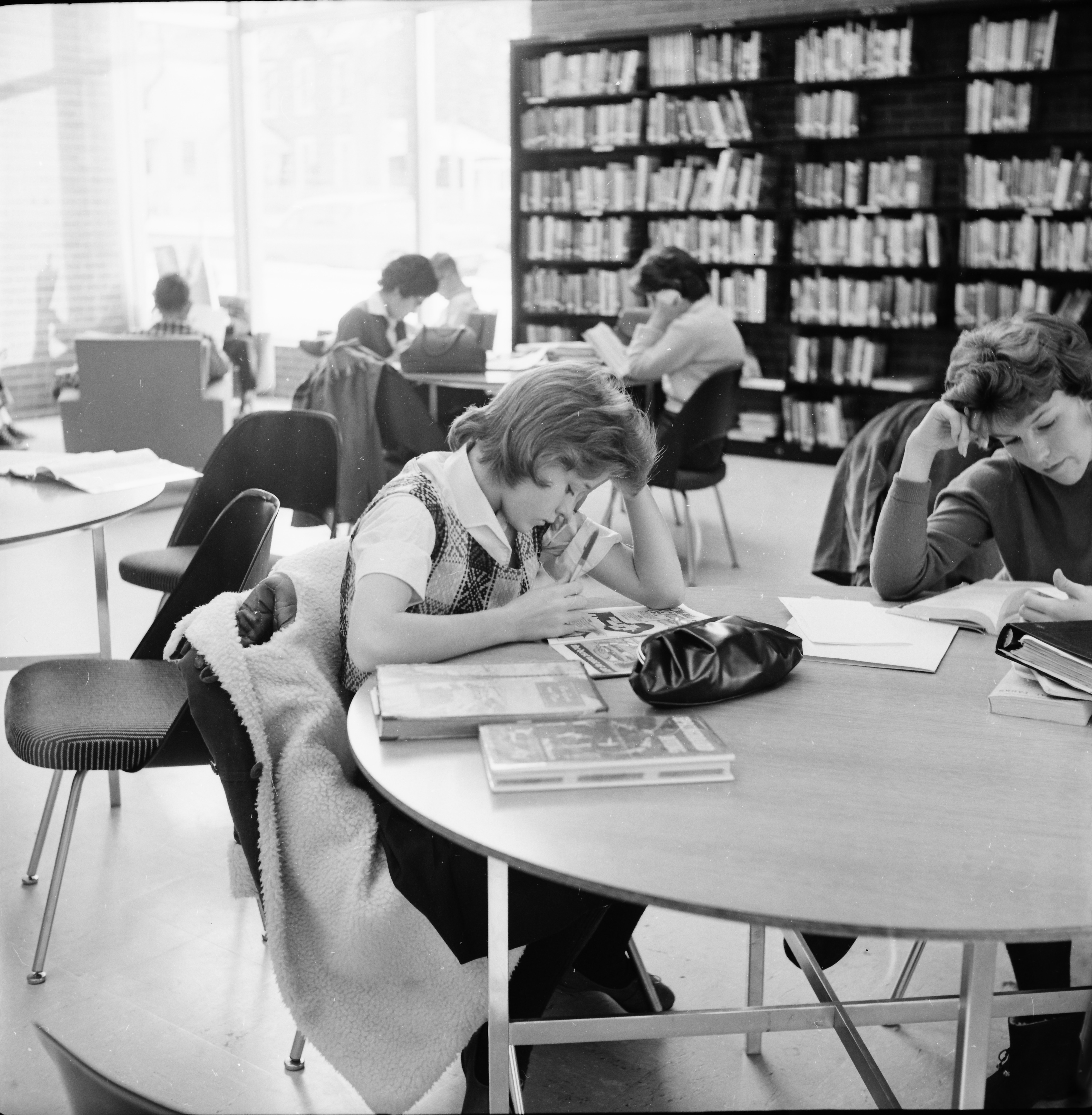 Hard At Homework During the Holidays at the Ann Arbor Public Library, December 1961 image