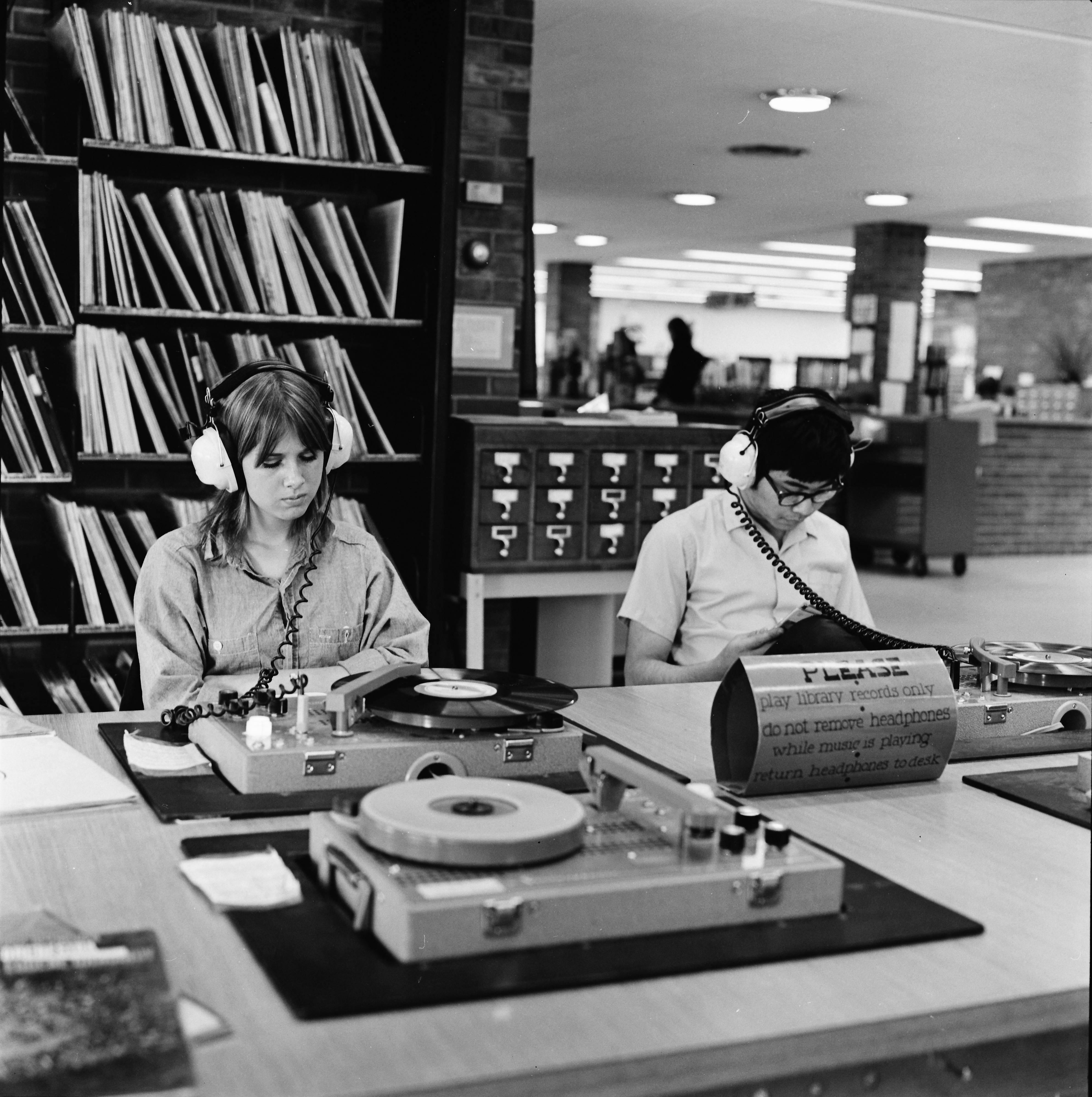 University of Michigan Students Using Ann Arbor Public Library Phonographs, April 1971 image