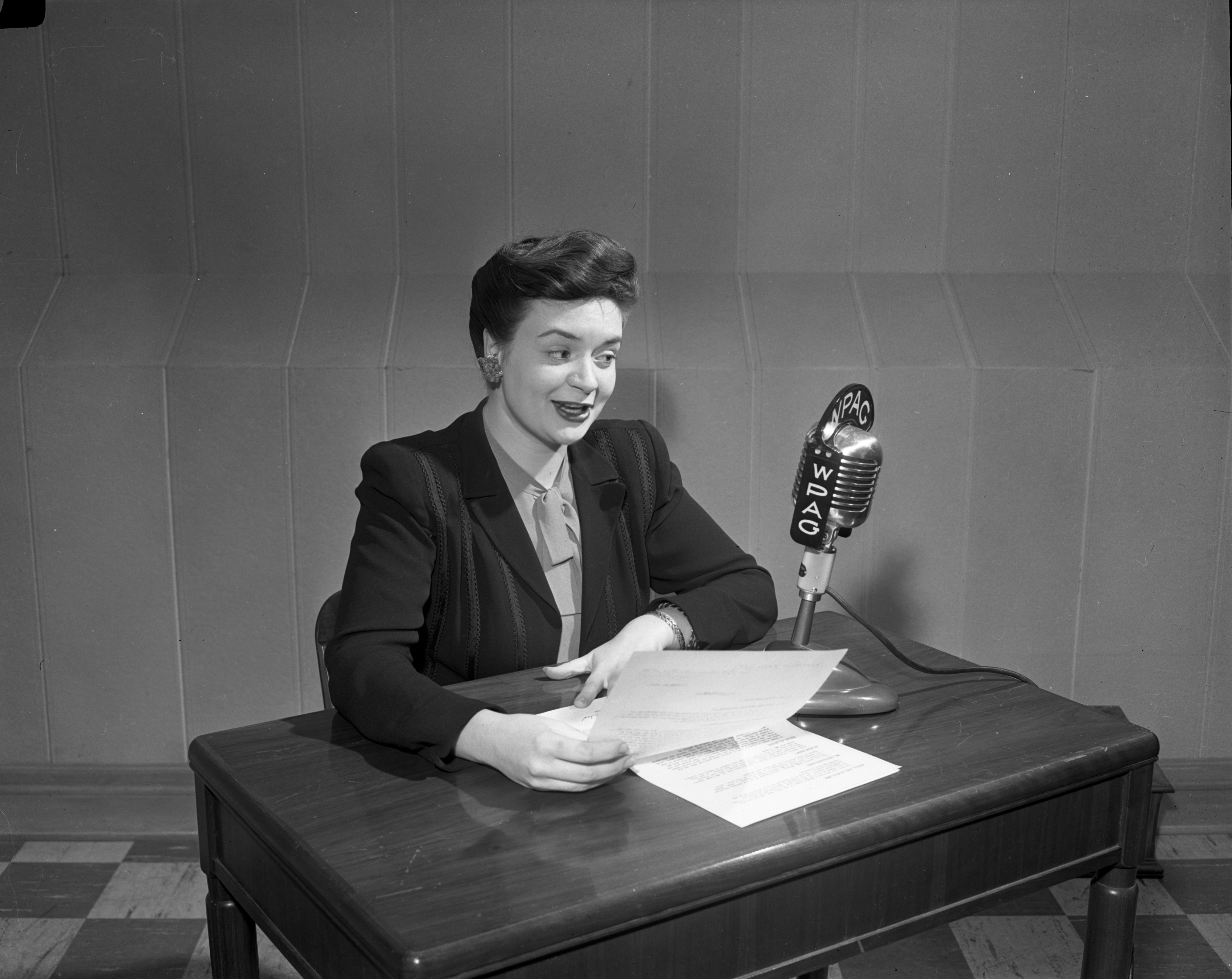 Broadcaster for WPAG radio, undated image