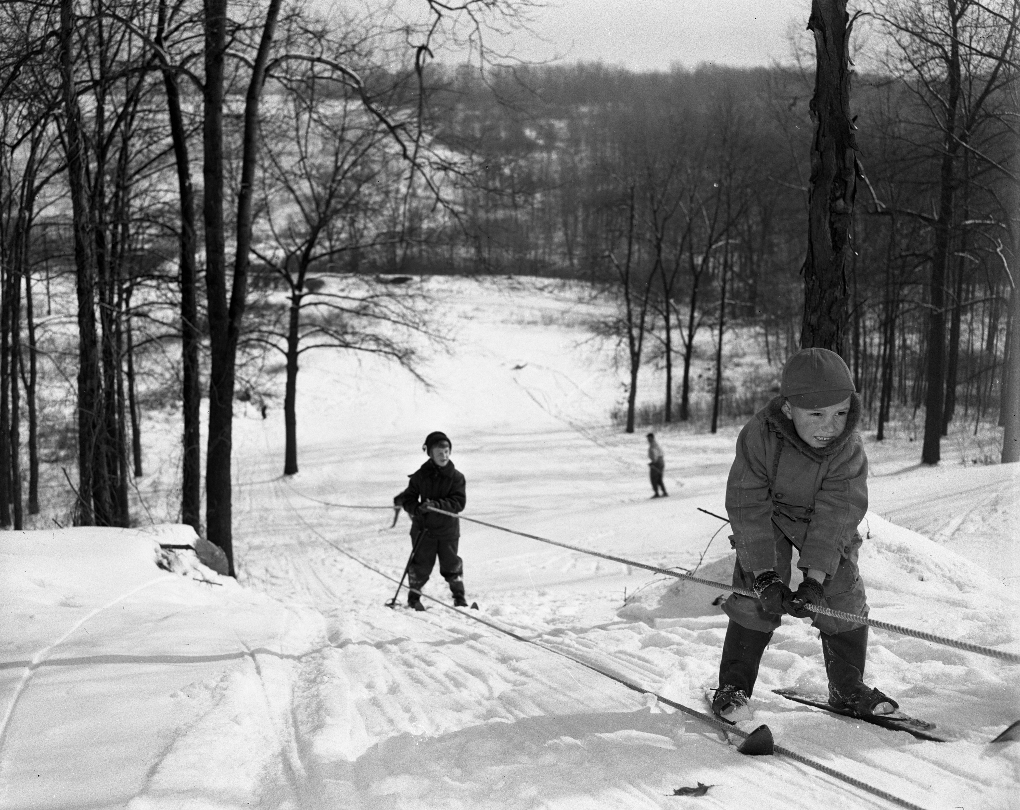 Ski tow at Barton Hills, January, 1951 image
