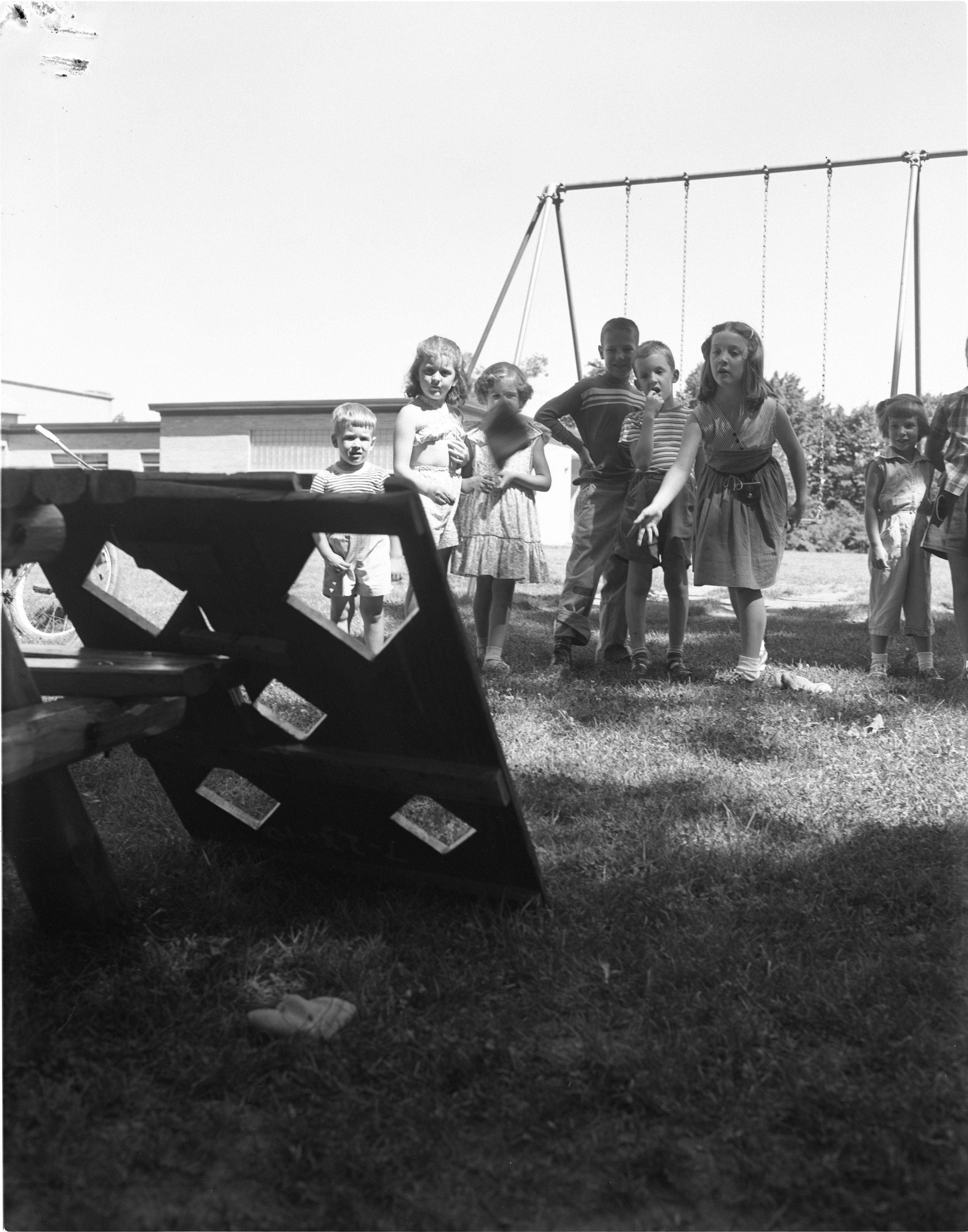 Bean Bag Throwing Contest At Eberwhite School Playground, July 1954 image