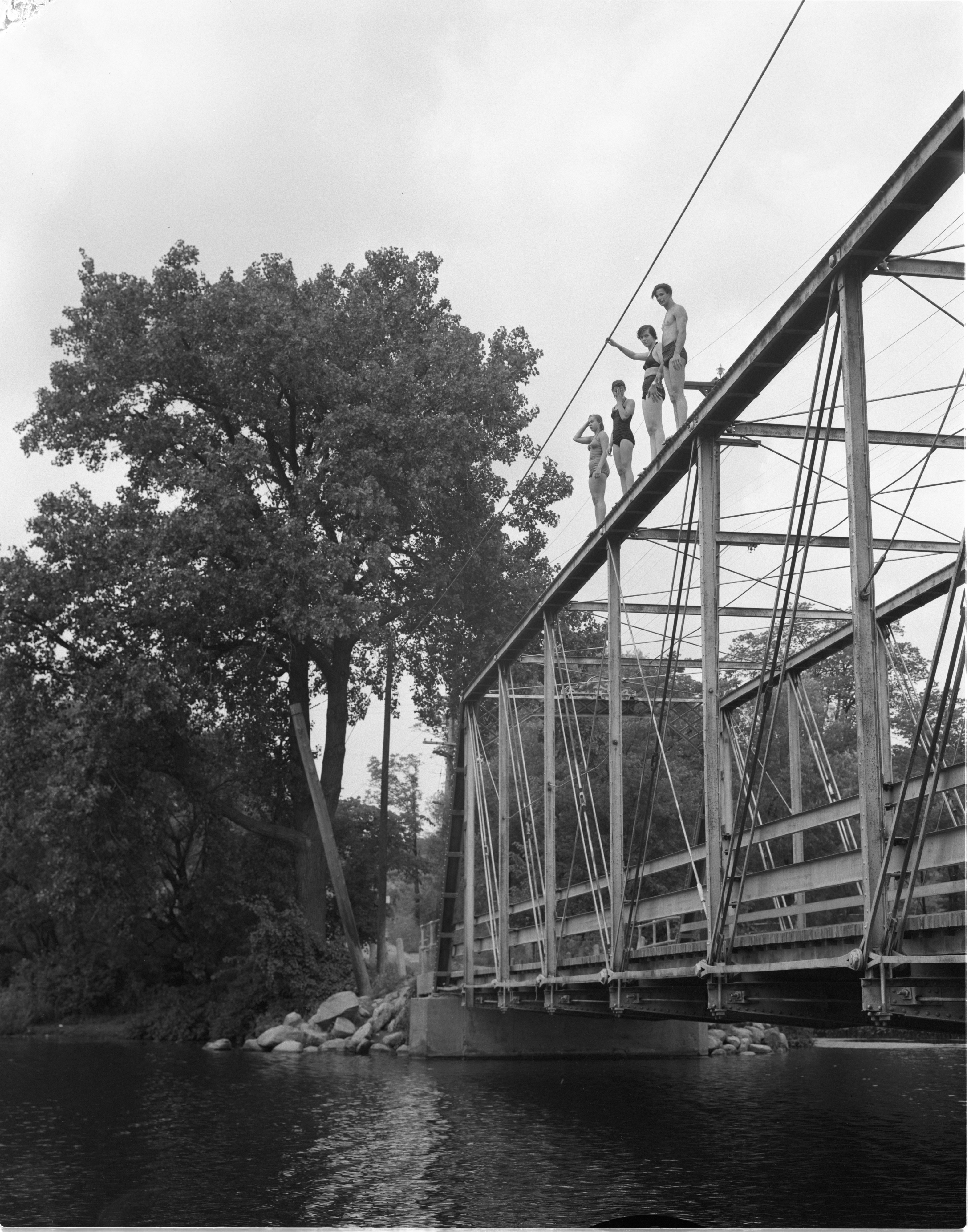 Swimmers Stand Atop The Foster Bridge, July 1955 image