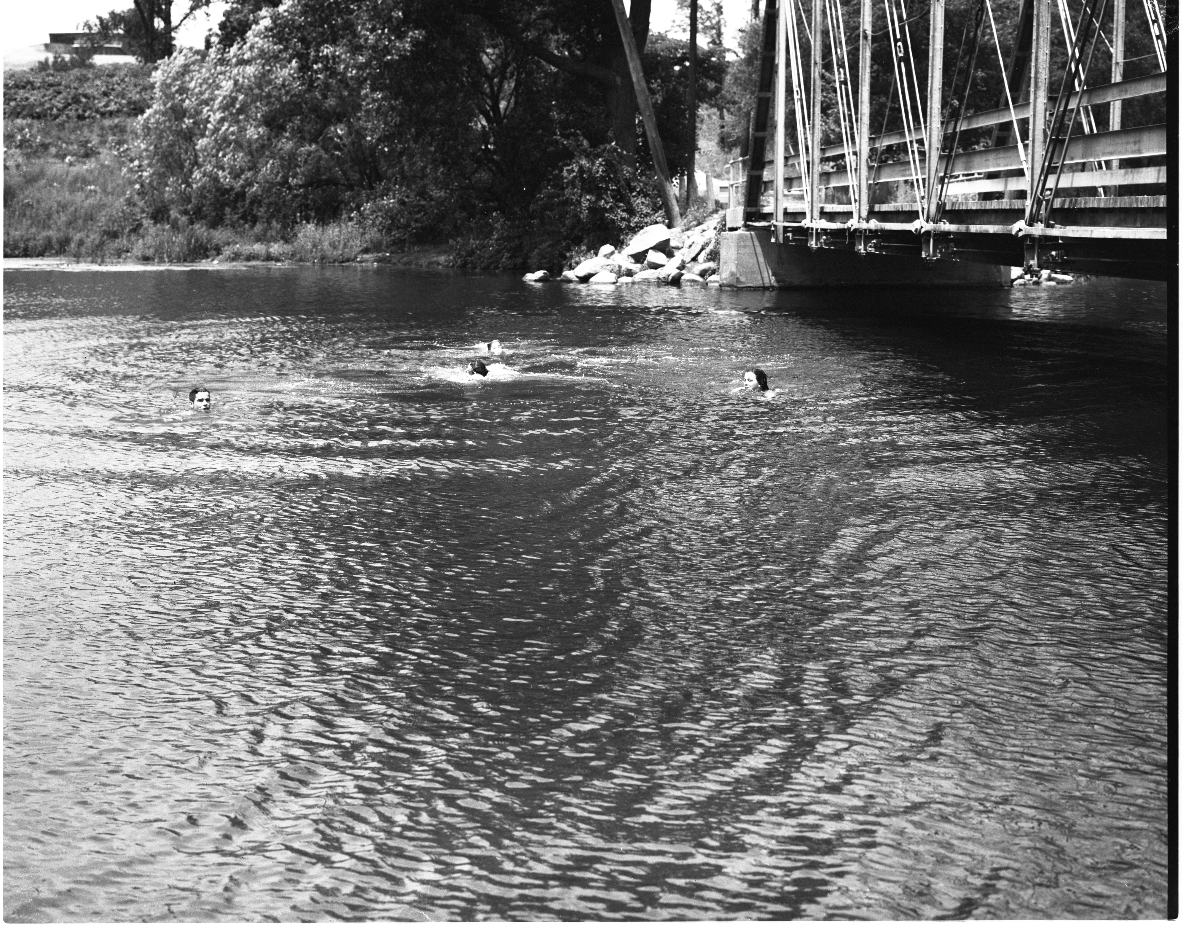 Swimming In The Huron River At The Foster Bridge, July 1955 image
