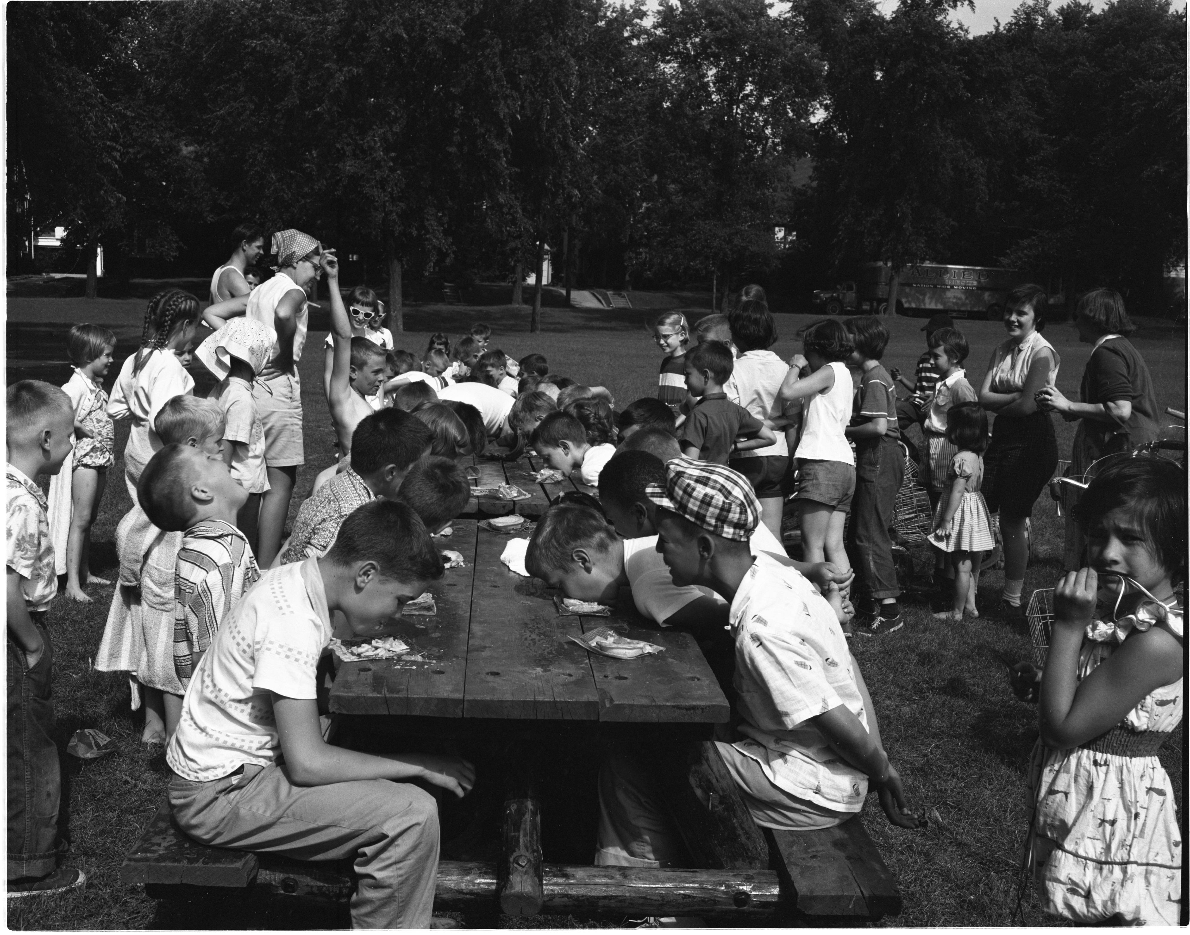 Pie Eating Contest At Burns Park, June 1956 image