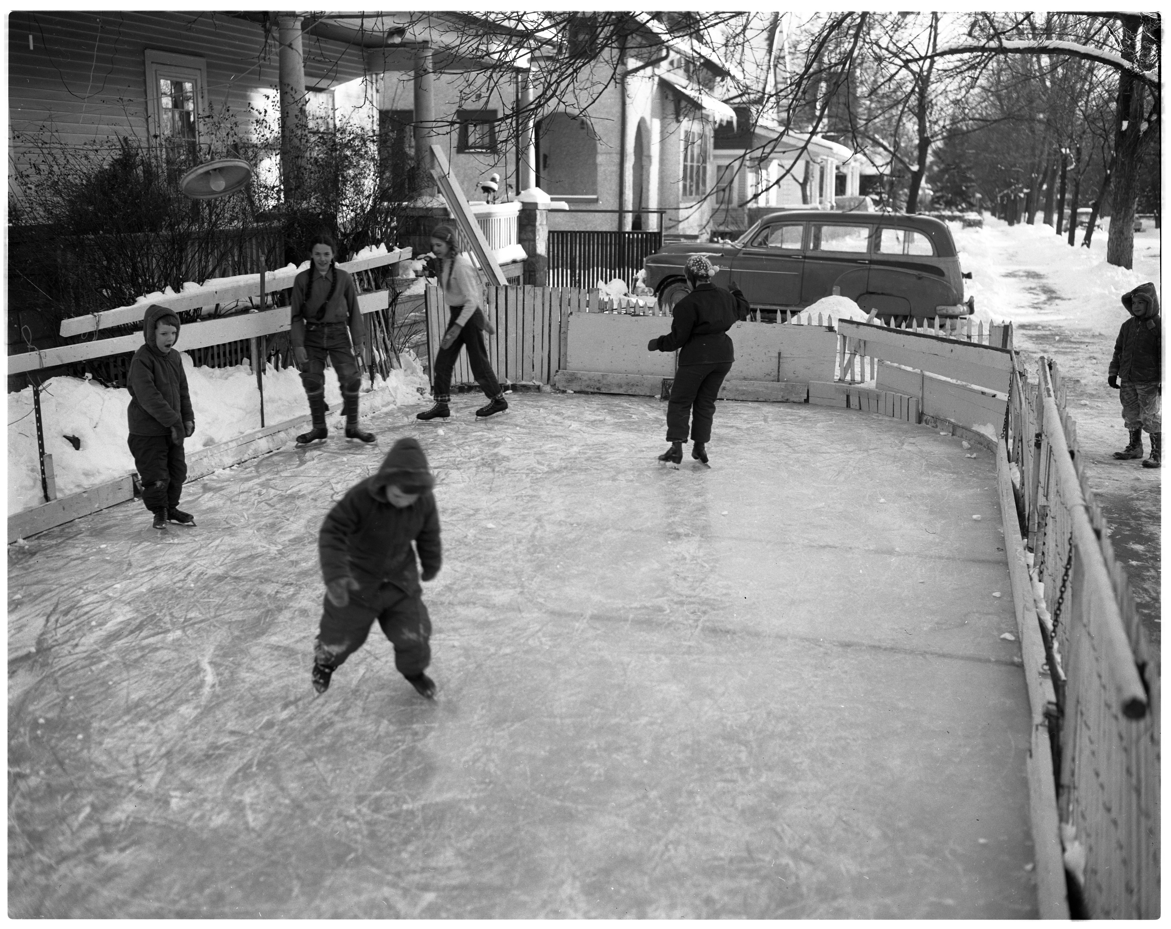 Home Made Ice Rink, January 1957 image