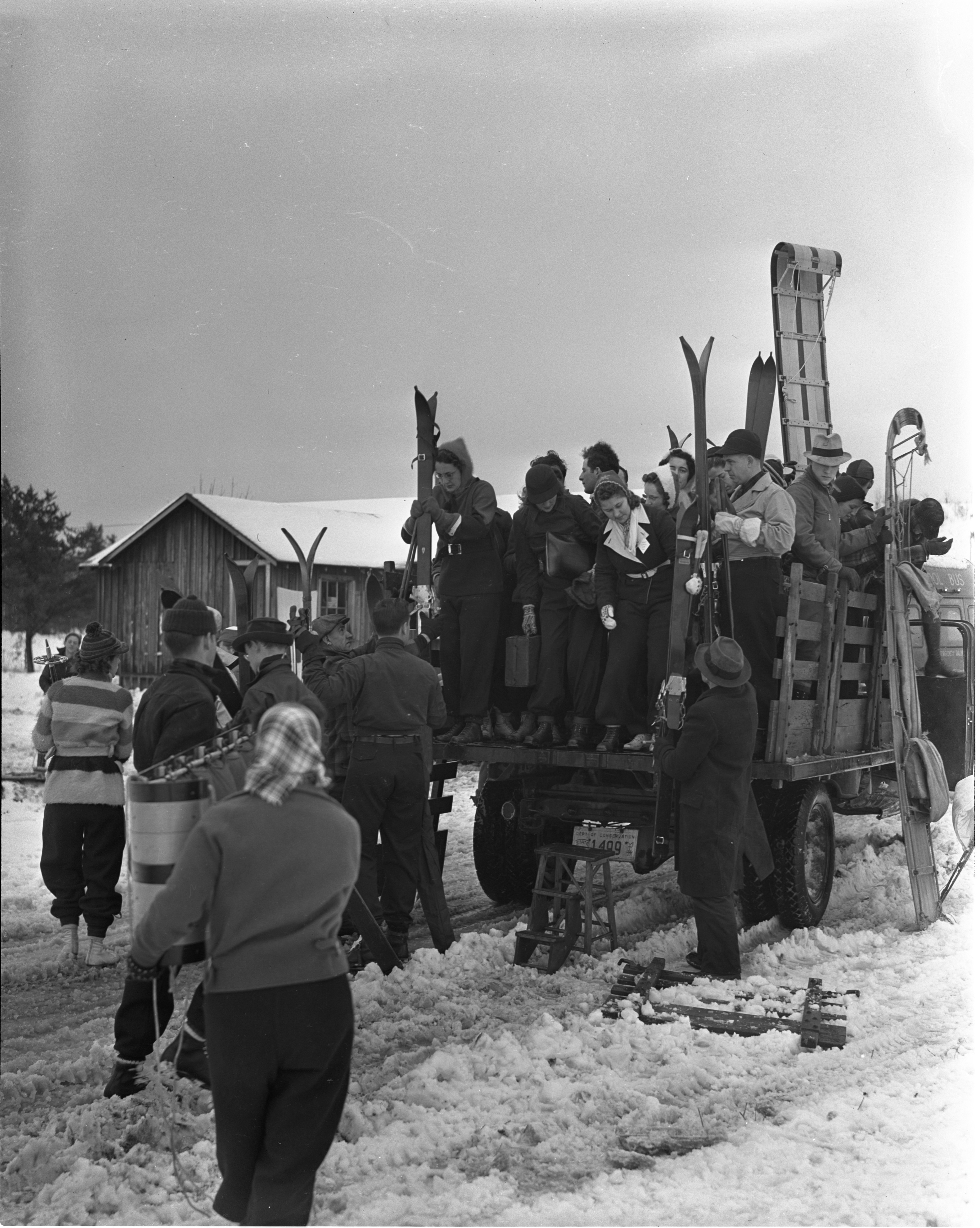 Group Arrives At Grayling Winter Sports Park By Truck, January 1940 image