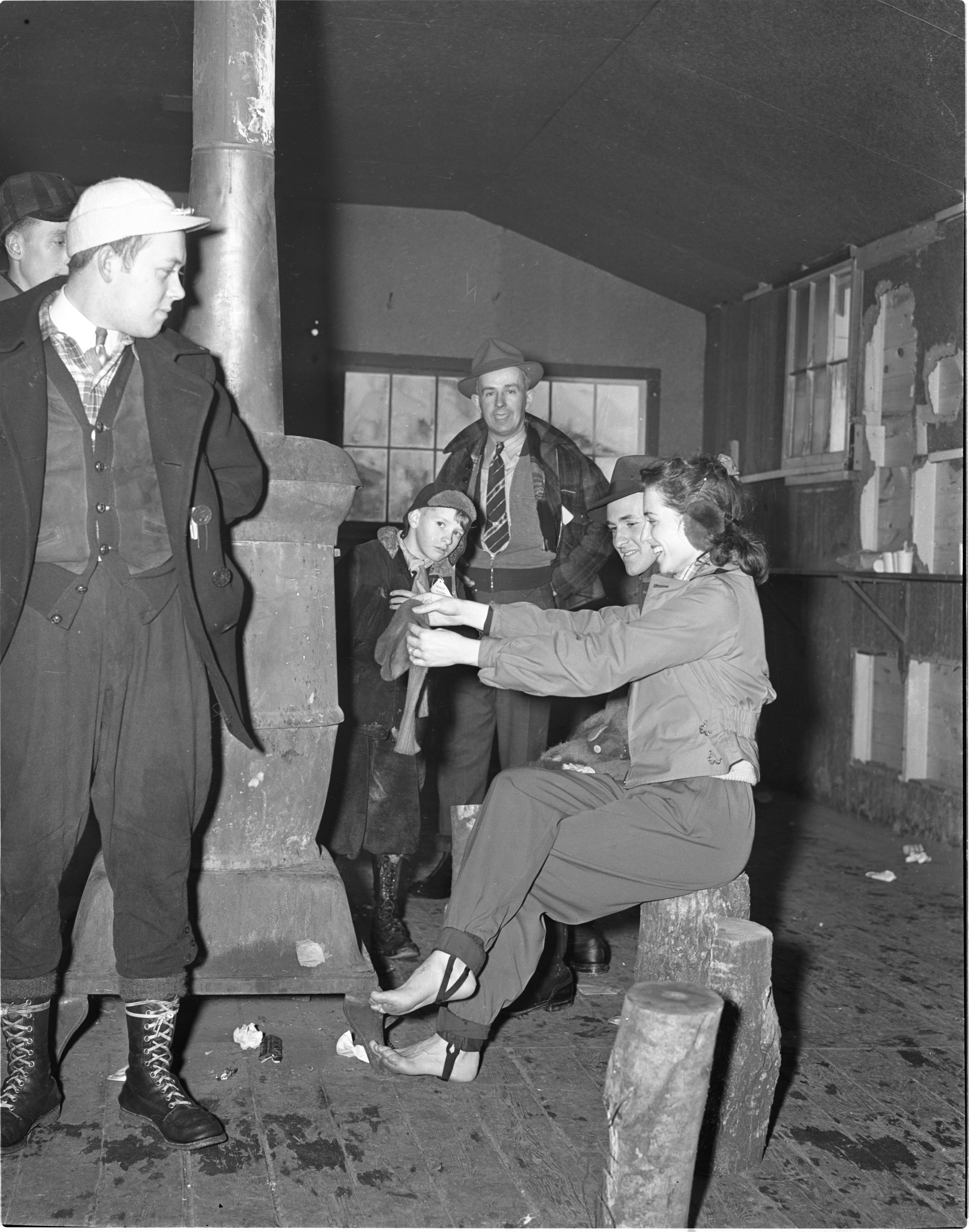 Drying Socks Inside Warming House At Grayling Winter Sports Park, January 1940 image