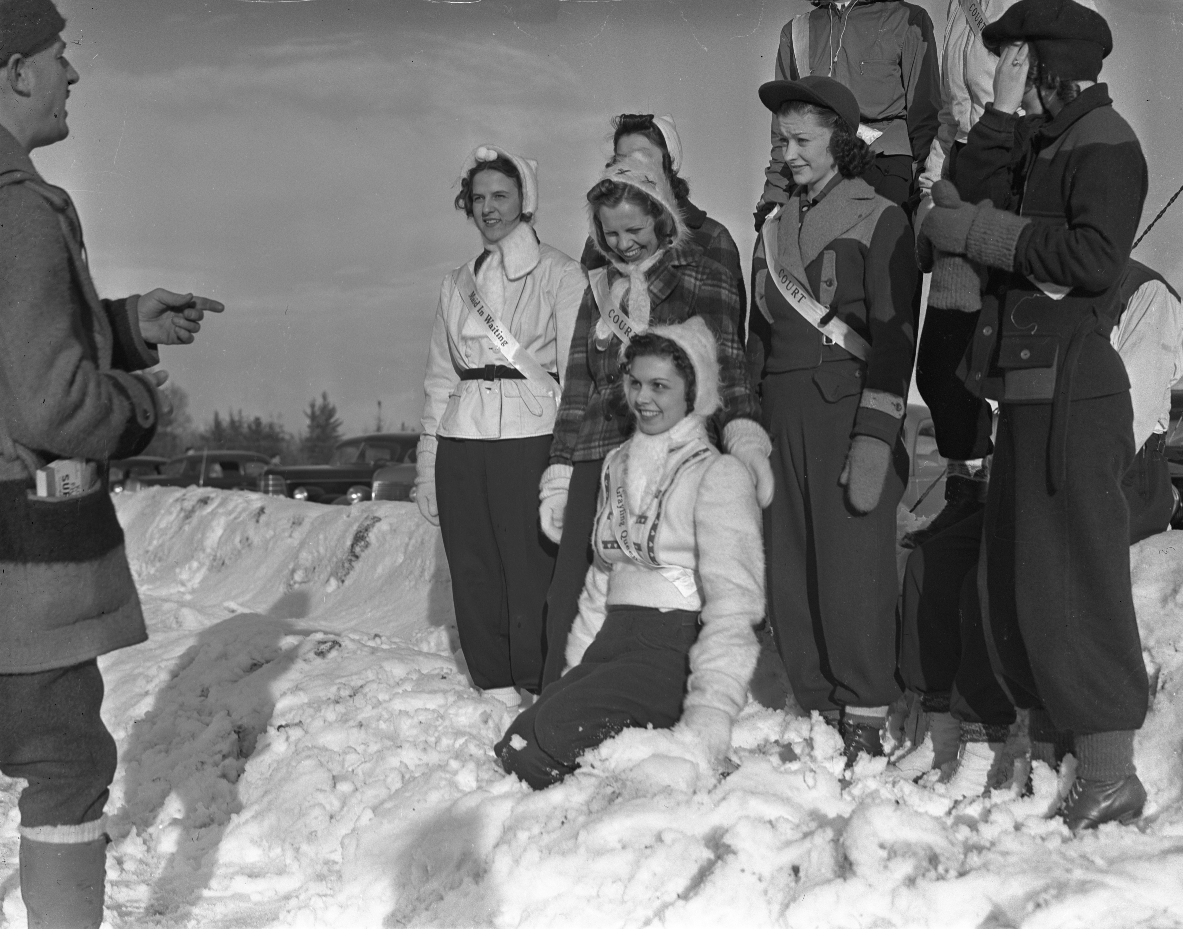 Grayling Snow Queen Pauline Merrill And Her Court Are Arranged For A Picture, January 1940 image