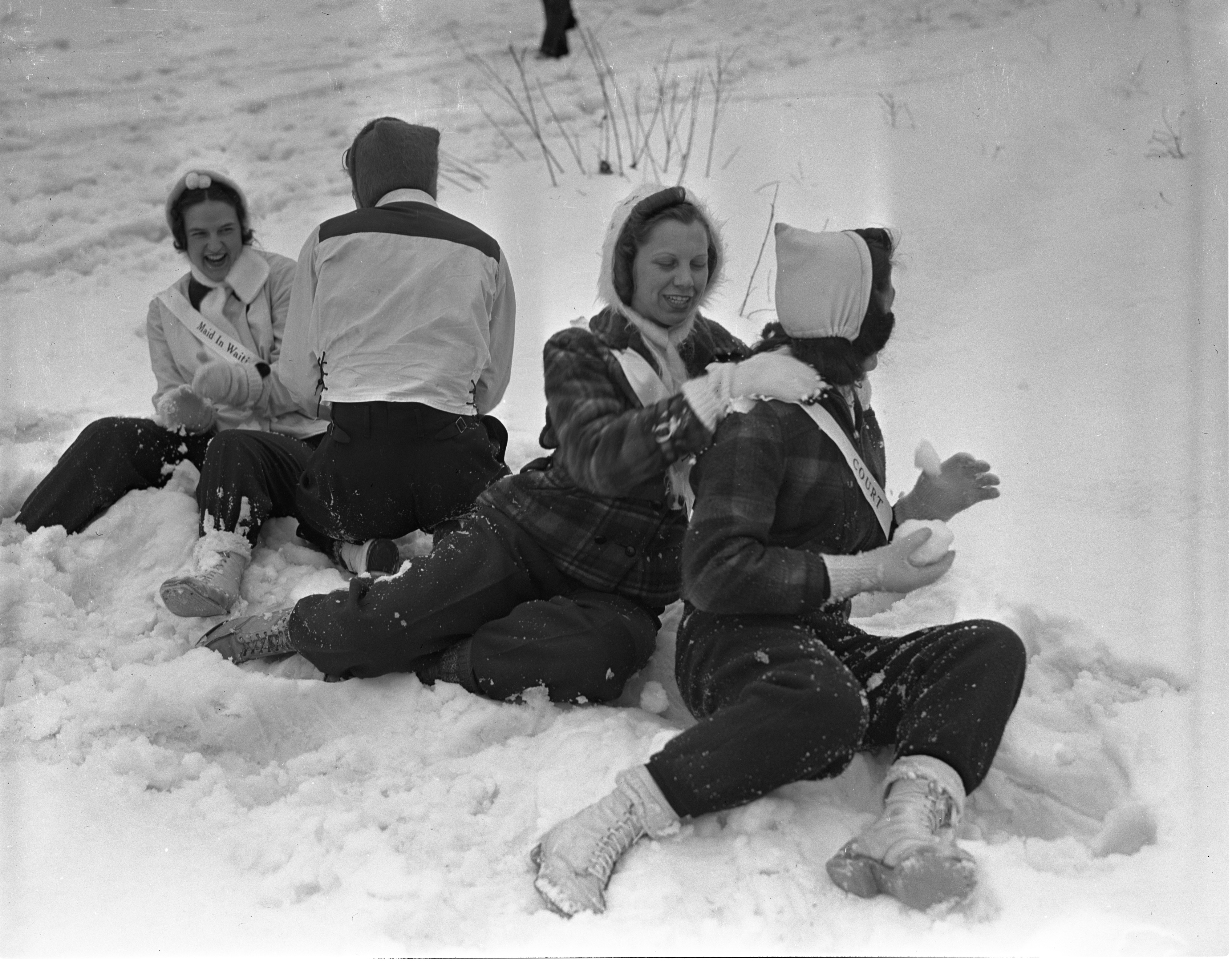 Grayling Snow Queen's Court In Snowball Fight, January 1940 image