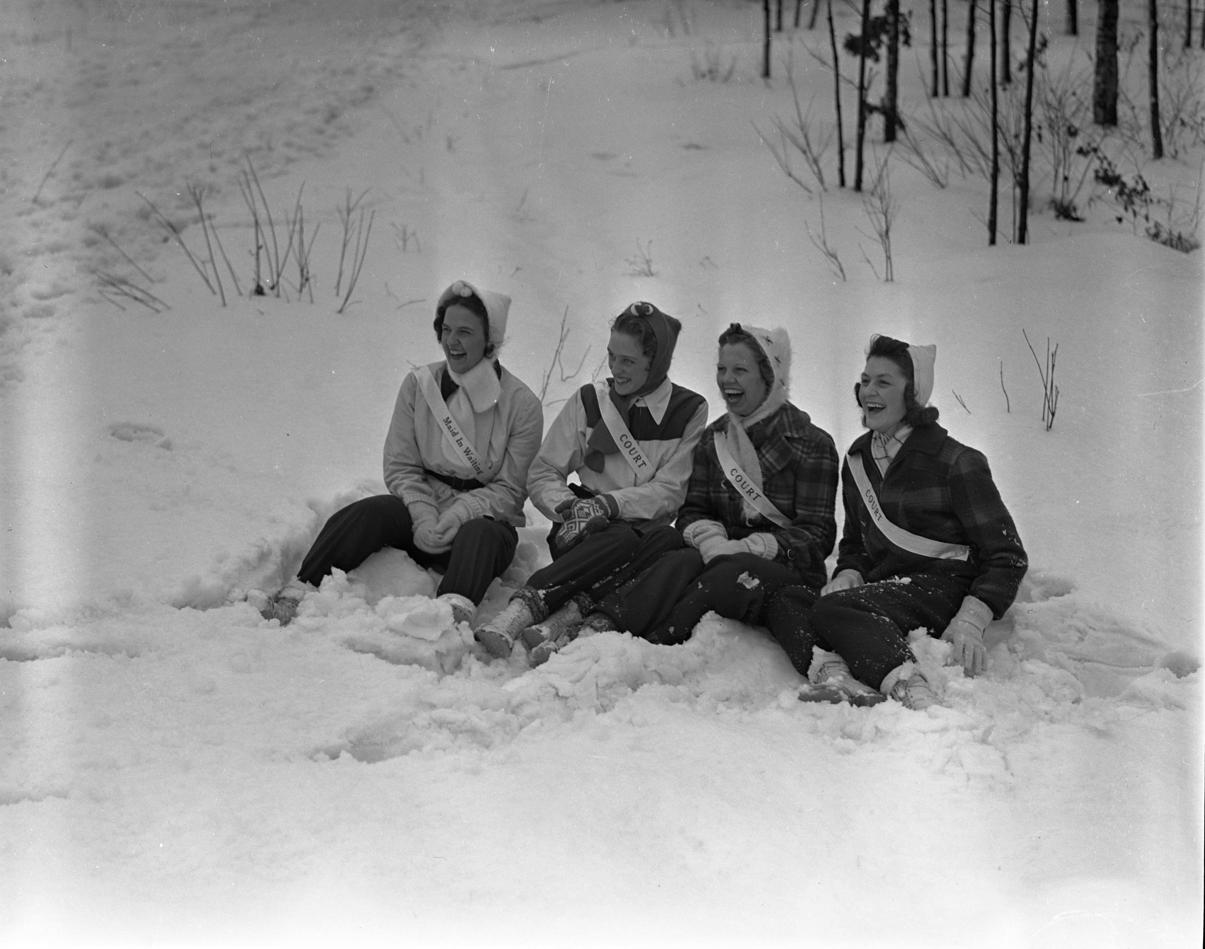 Grayling Snow Queen's Court Sitting In The Snow, January 1940 image