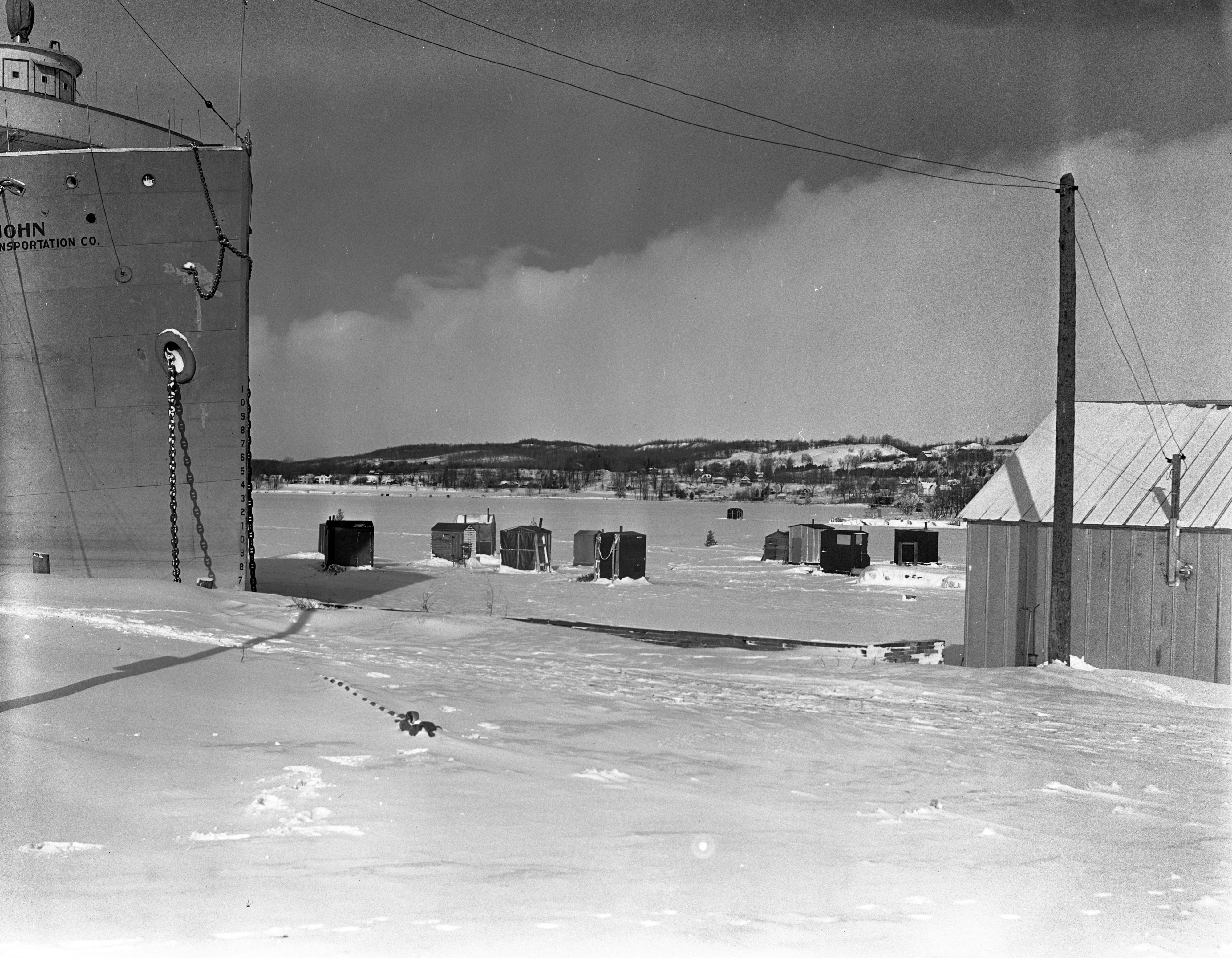 'Smeltania' Ice Shanty Outpost On Lake Charlevoix, January 1940 image