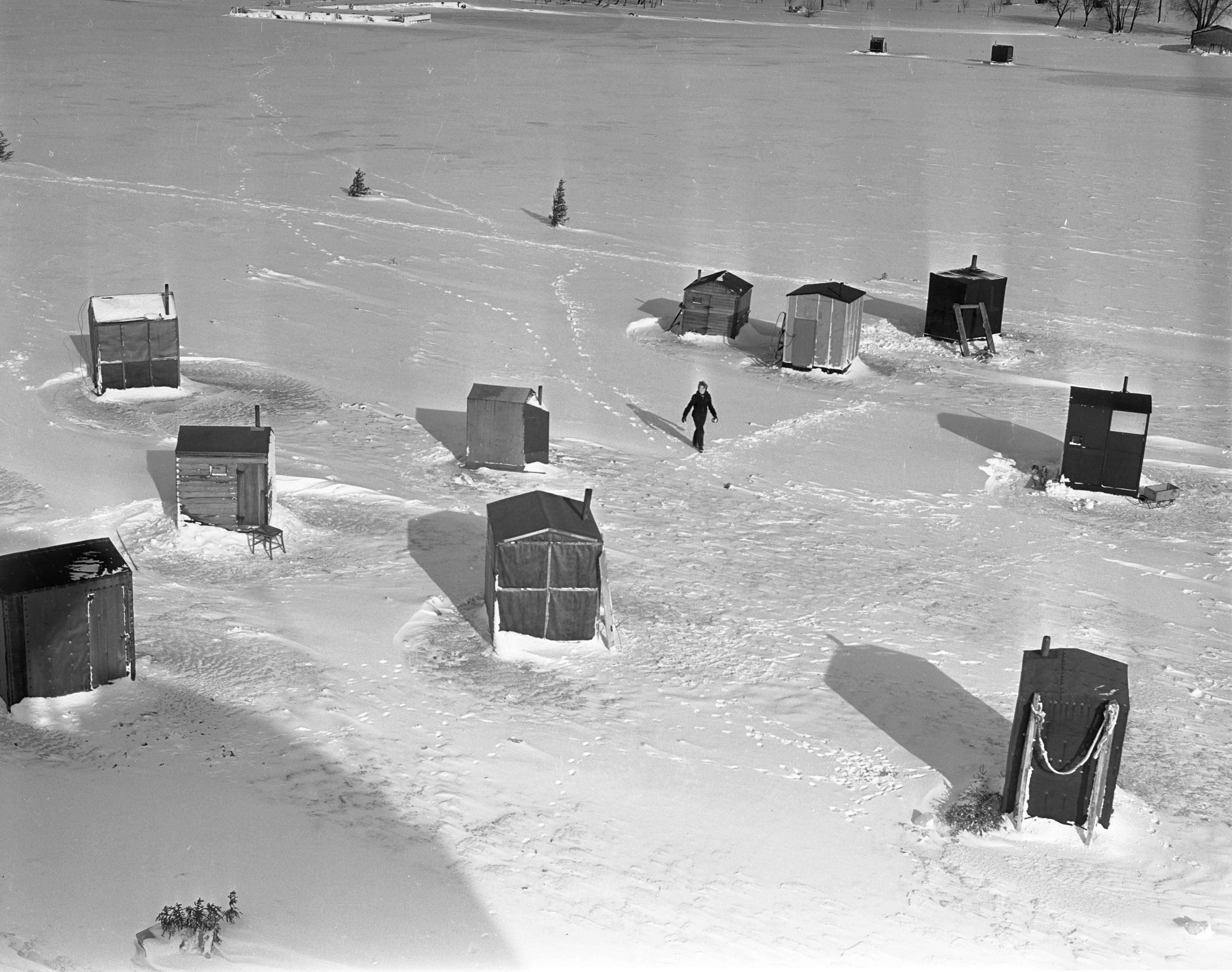 'Smeltania' Ice Shanty Outpost On Lake Charlevoix Seen From Above, January 1940 image