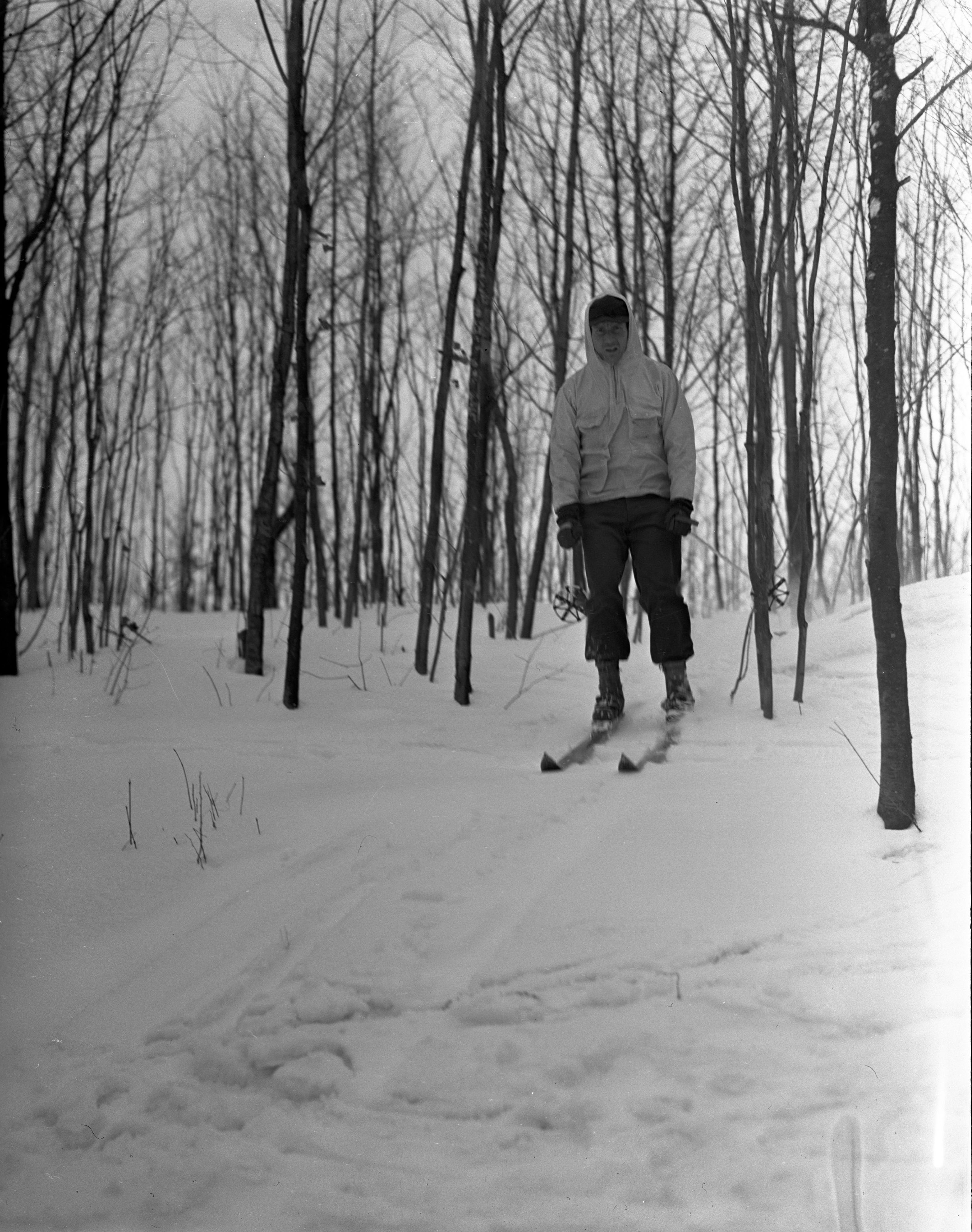 Lone Skier With Hood Up At Caberfae, February 1940 image