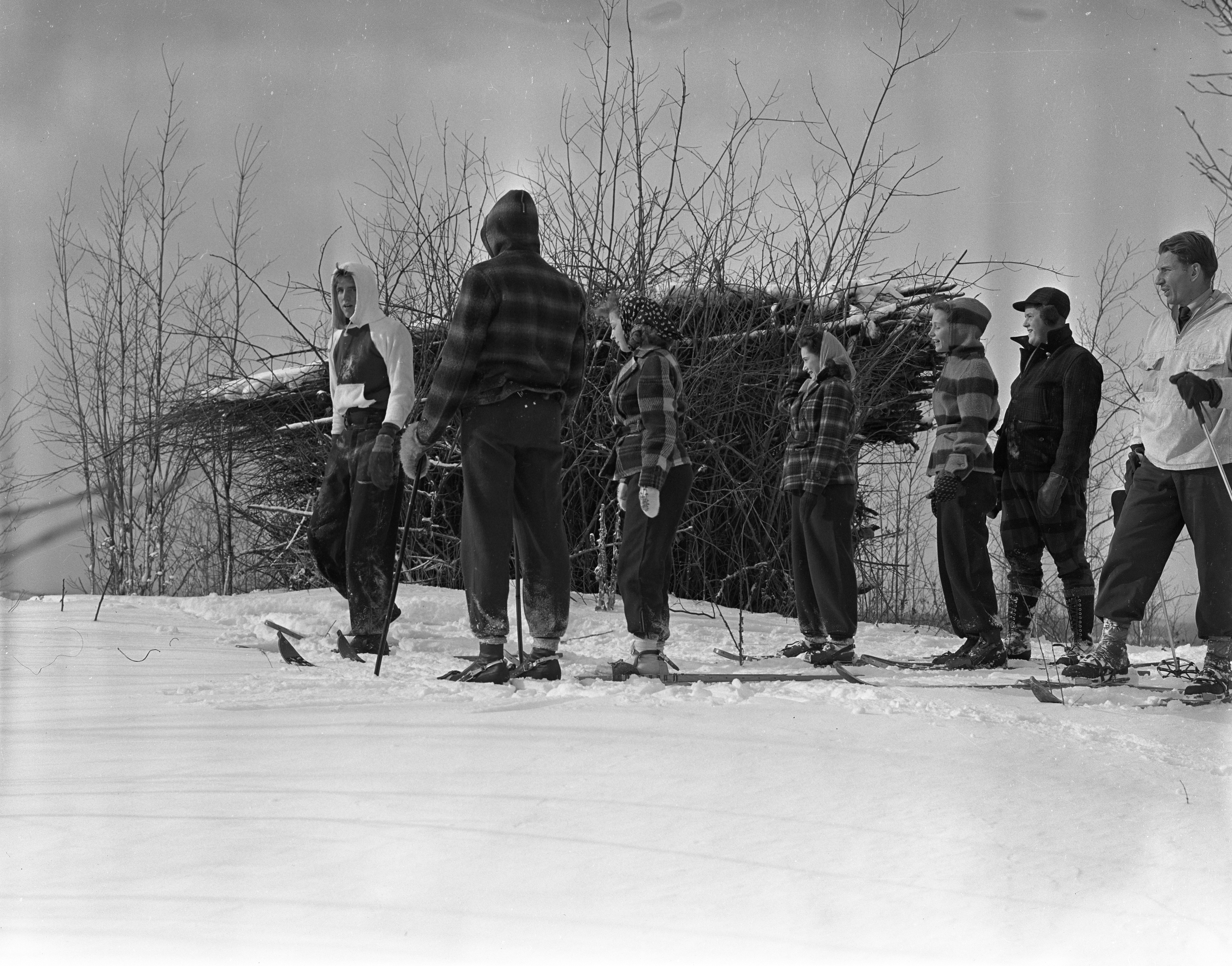Skiers At Caberfae Outside Of Wooden Structure, February 1940 image