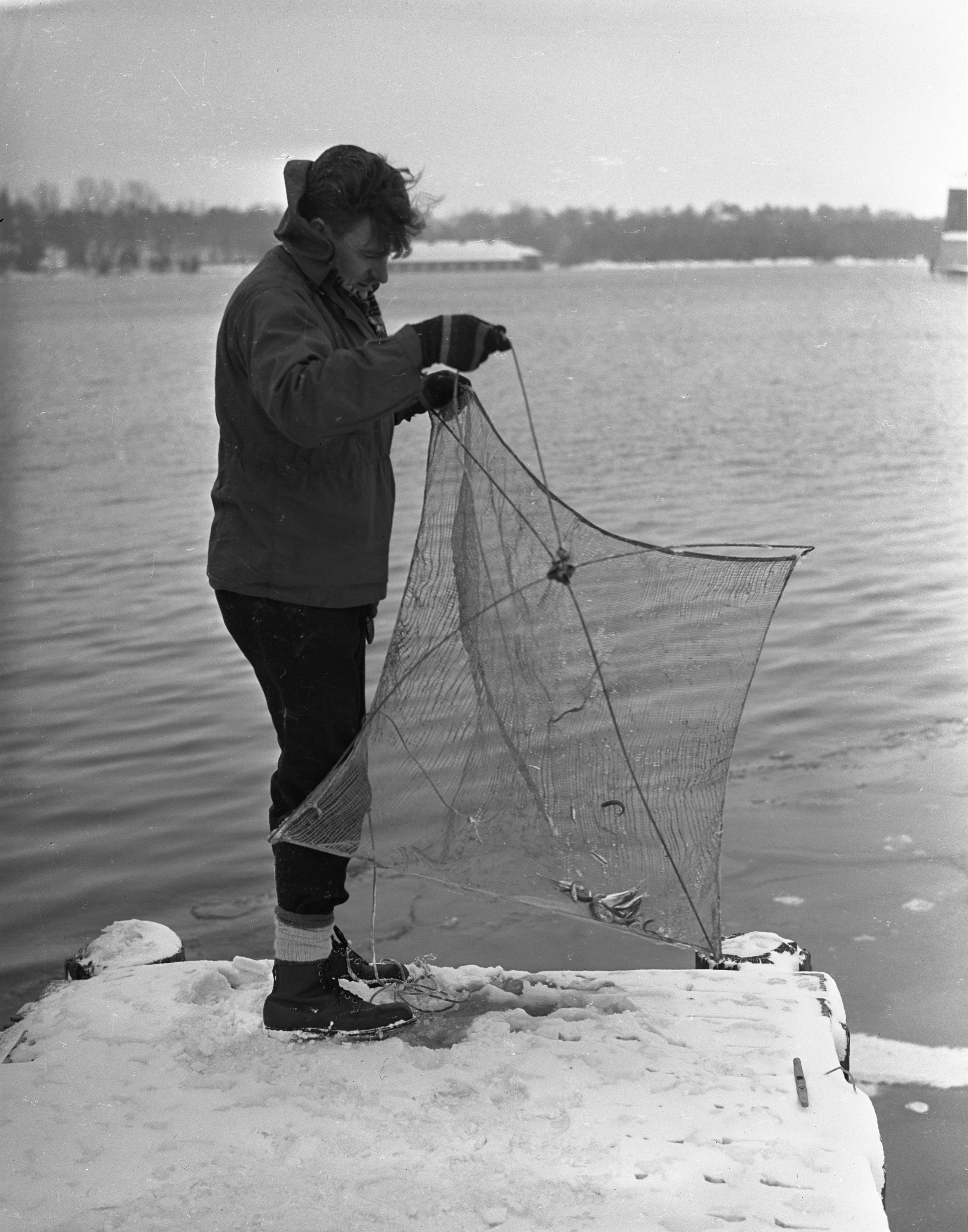Jim Cook Fishing With Netting In Charlevoix, February 1940 image