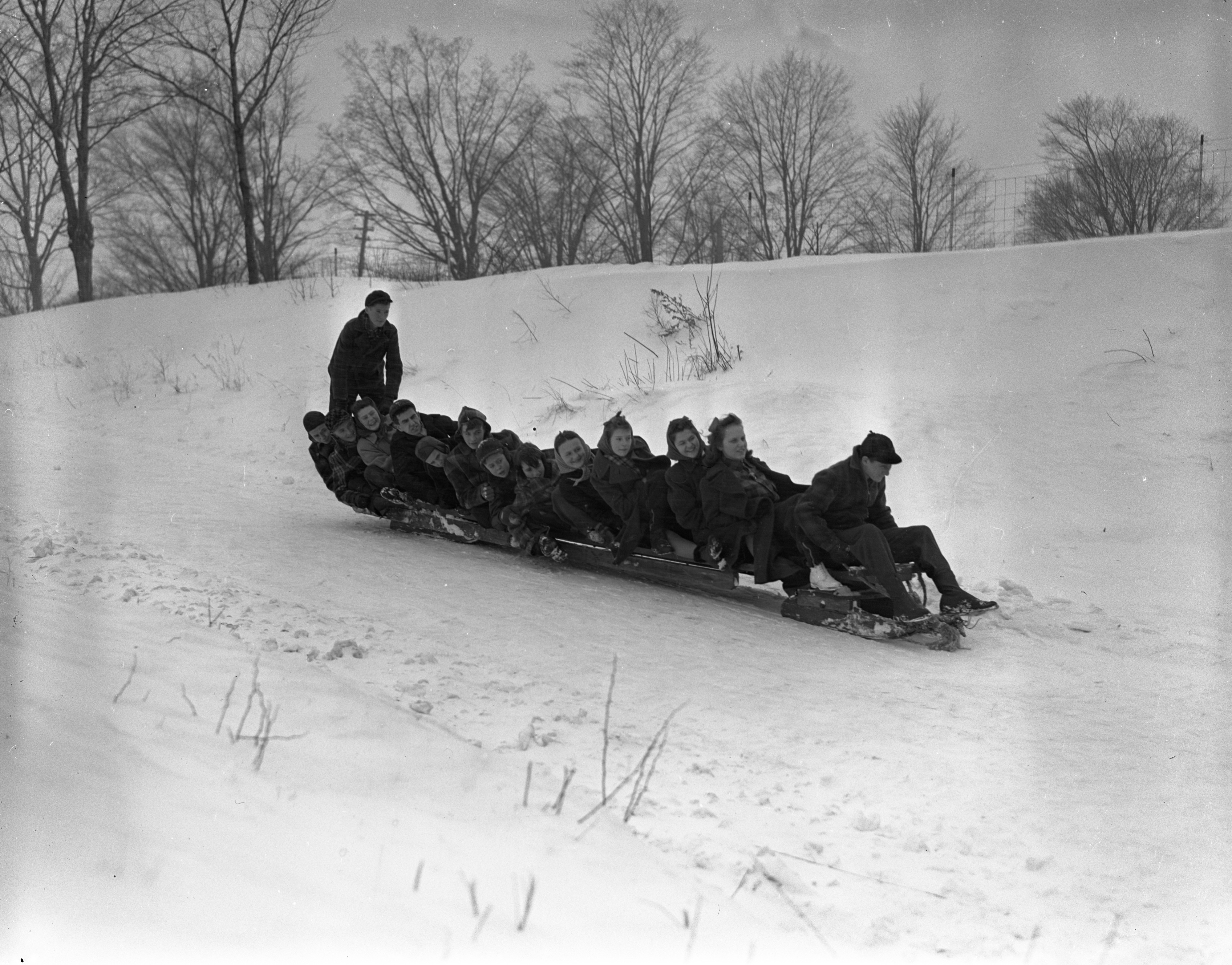 Overloaded Bobsled In Charlevoix, February 1940 image