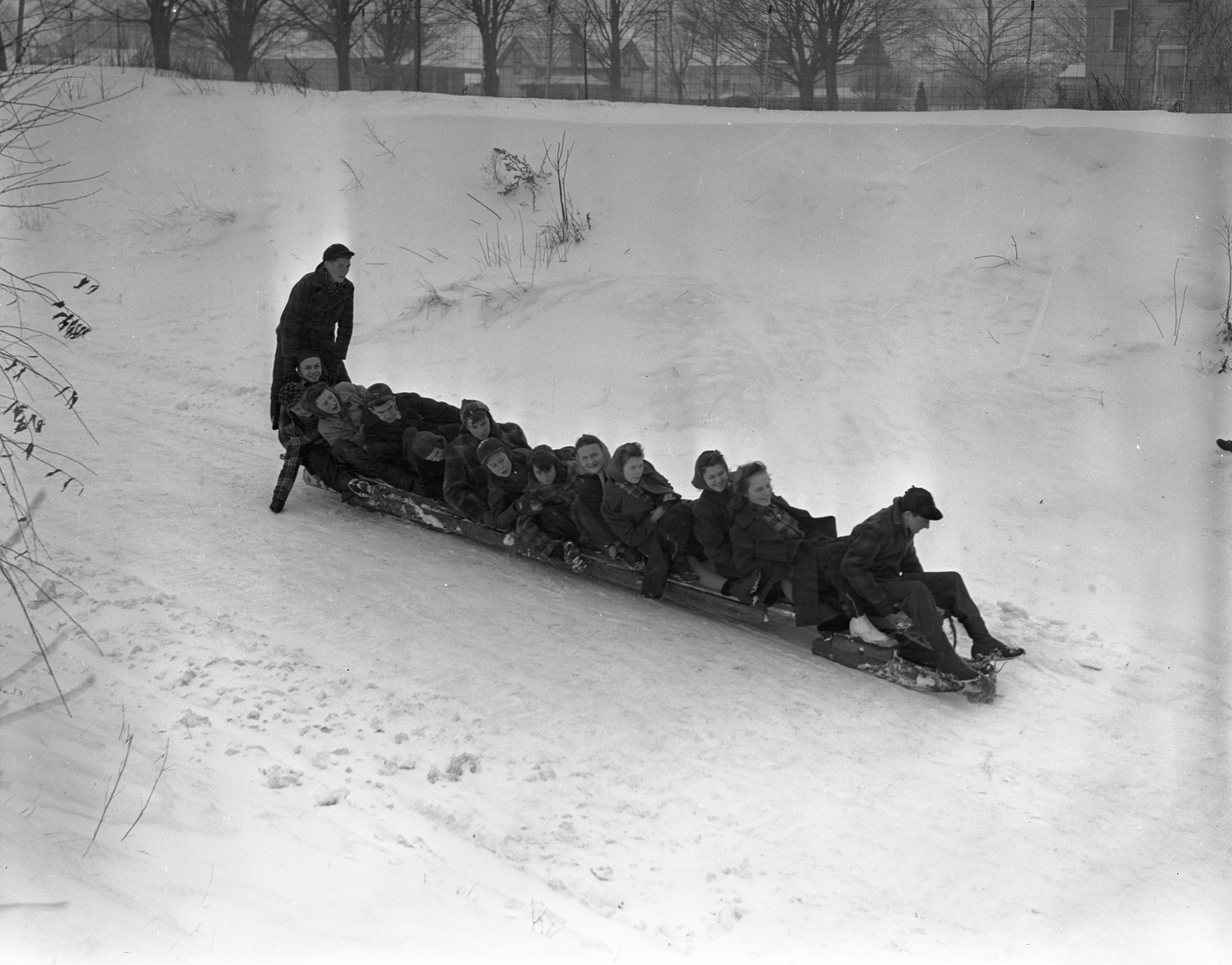 Overloaded Bobsled In Charlevoix Seen From Above, February 1940 image