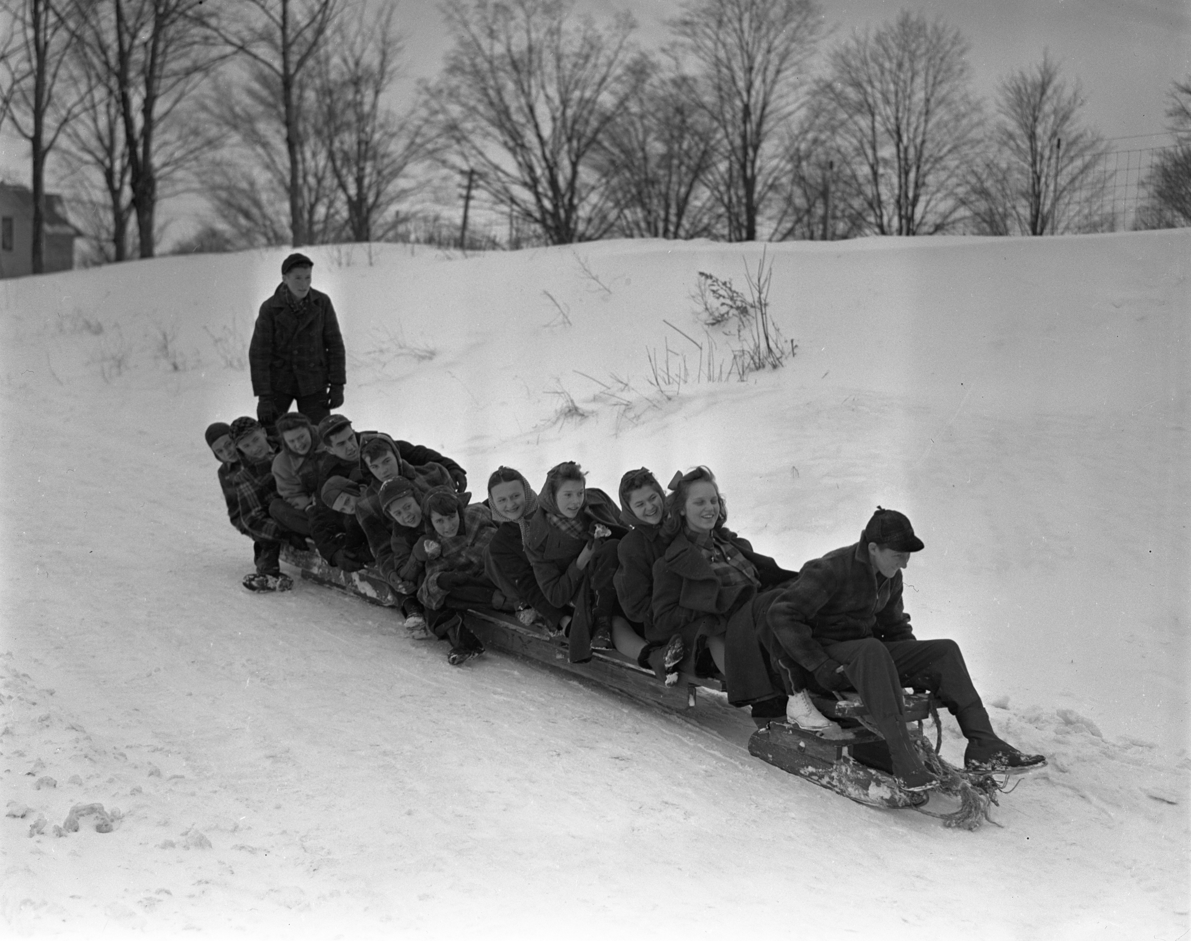 Overloaded Bobsled Preparing For Descent In Charlevoix, February 1940 image