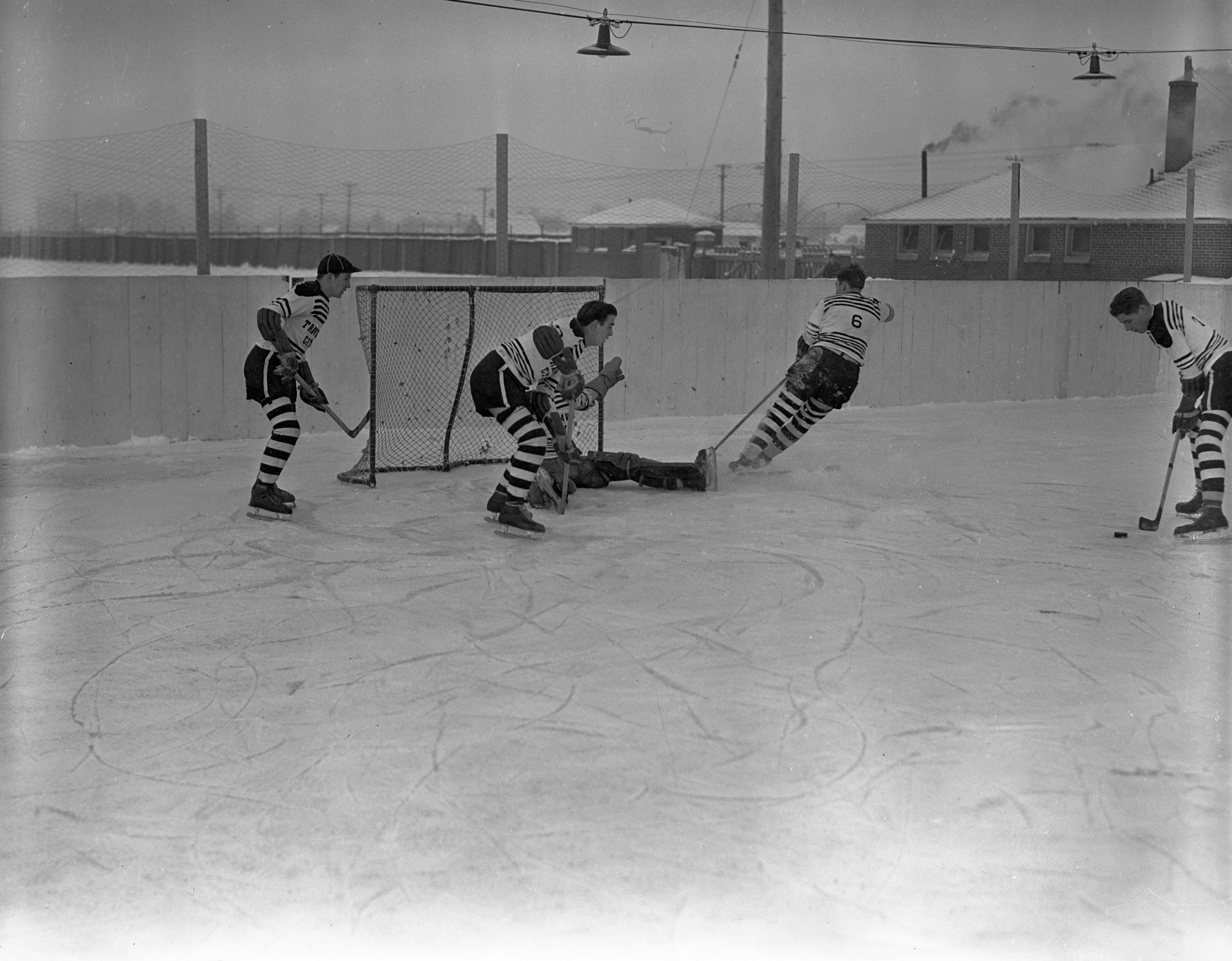Hockey On Outdoor Ice Rink In Traverse City, January 1940 image