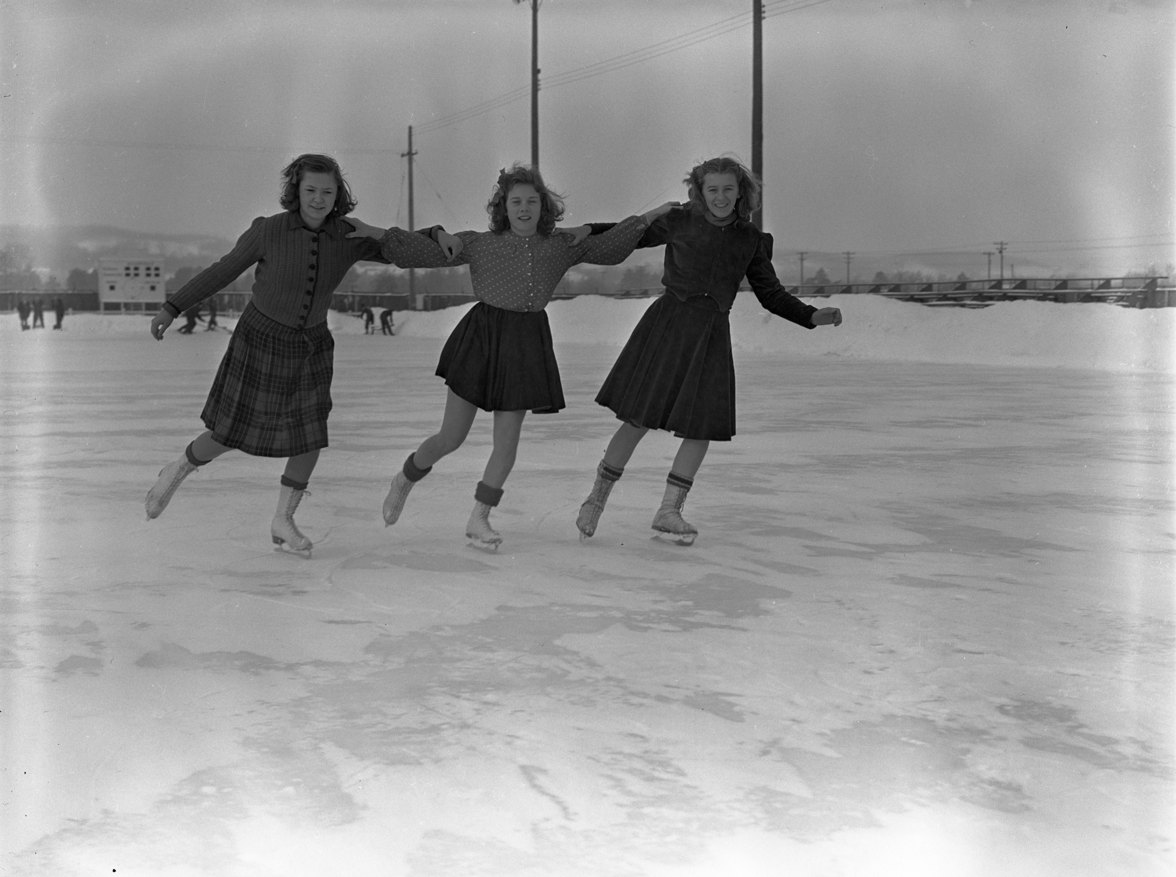 Figure Skating On An Outdoor Ice Rink In Traverse City, January 1940 image