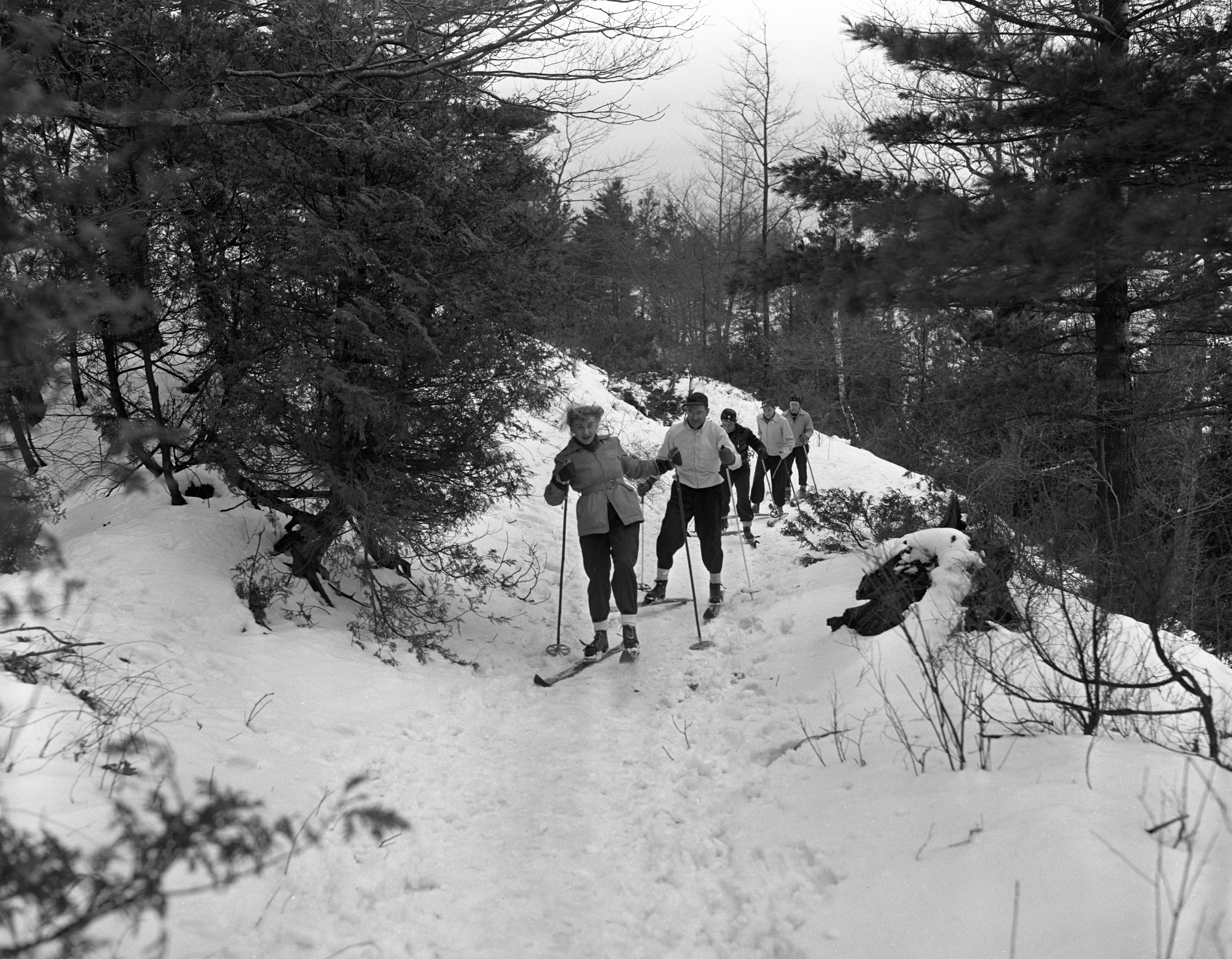 Cross-Country Skiers In Woods In Ludington, February 1940 image