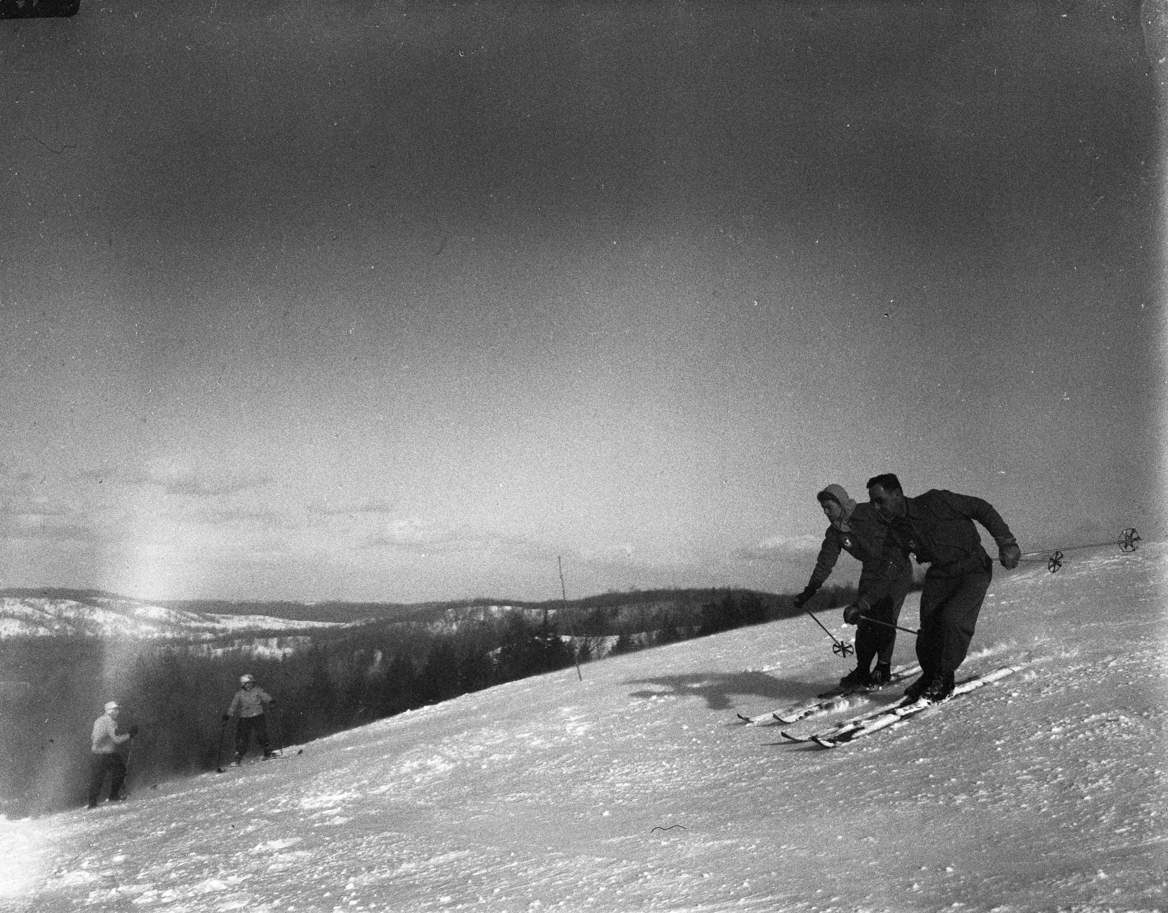 Alain And Stephanie Almon Skiing In Synchronization At The Otsego Club, February 1946 image
