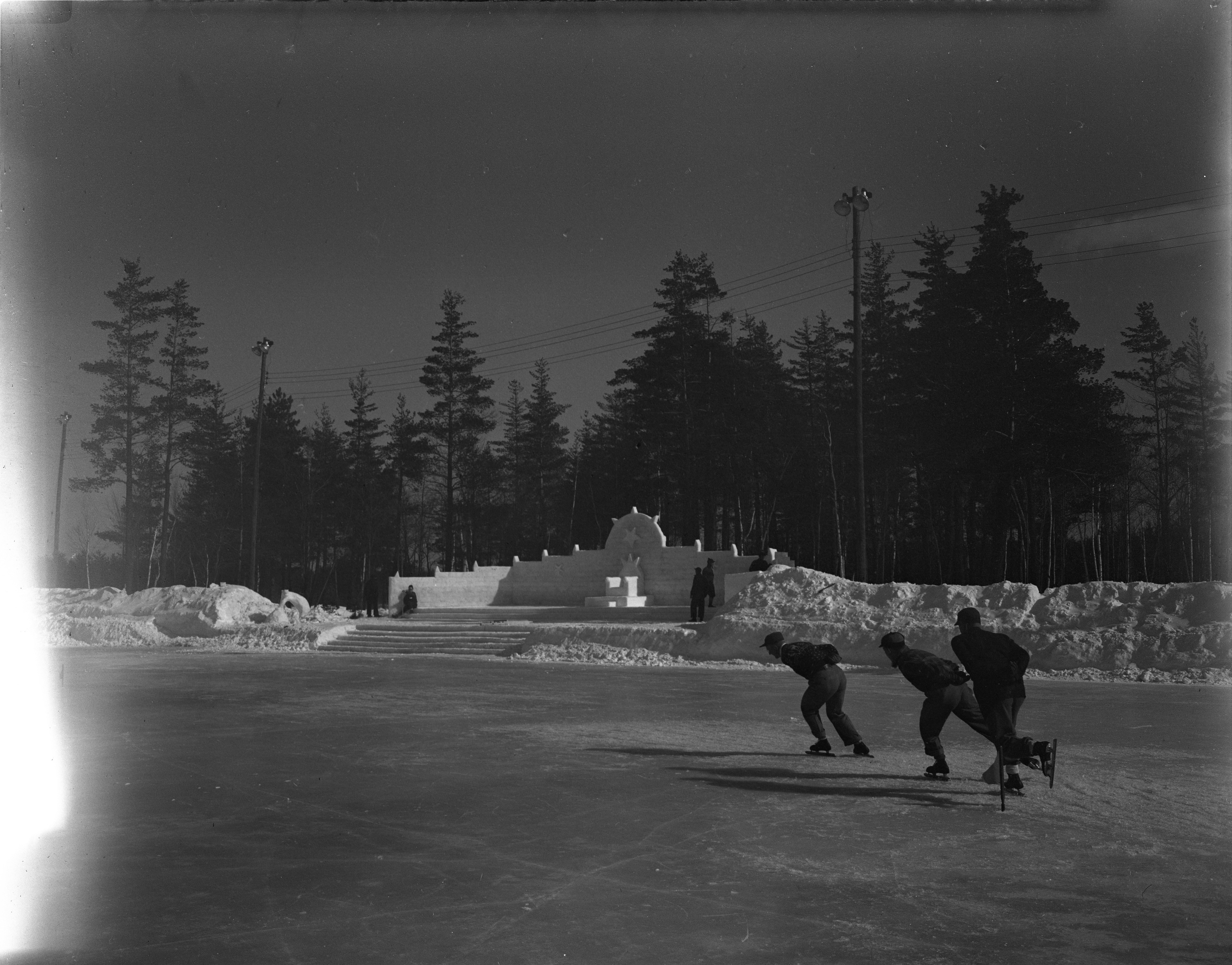 Skating Rink And Winter Carnival Throne At Grayling Winter Sports Area, February 1946 image