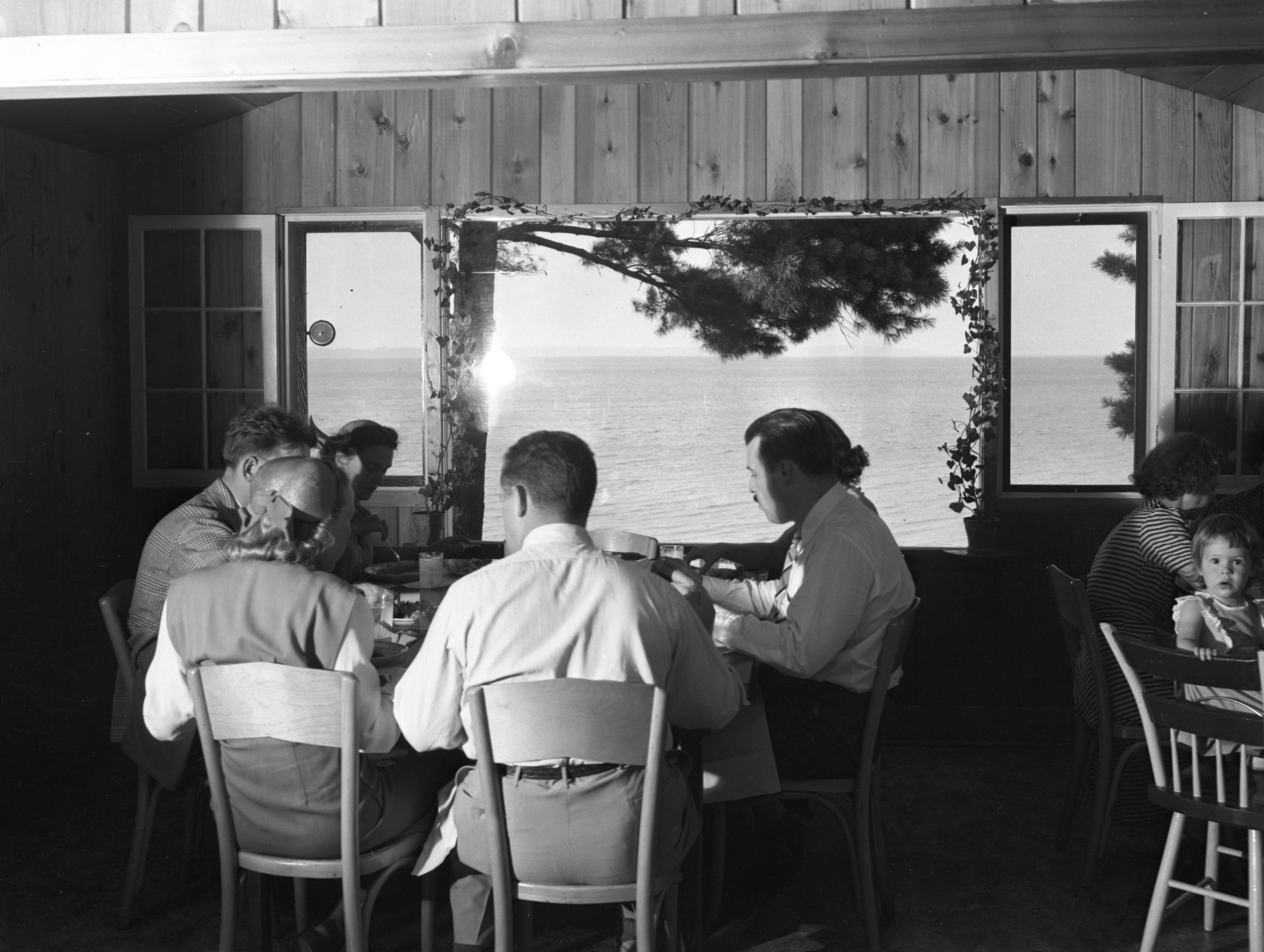 View Of Lake Michigan From Inside Joe Nelson's Restaurant In Traverse City, 1944 image