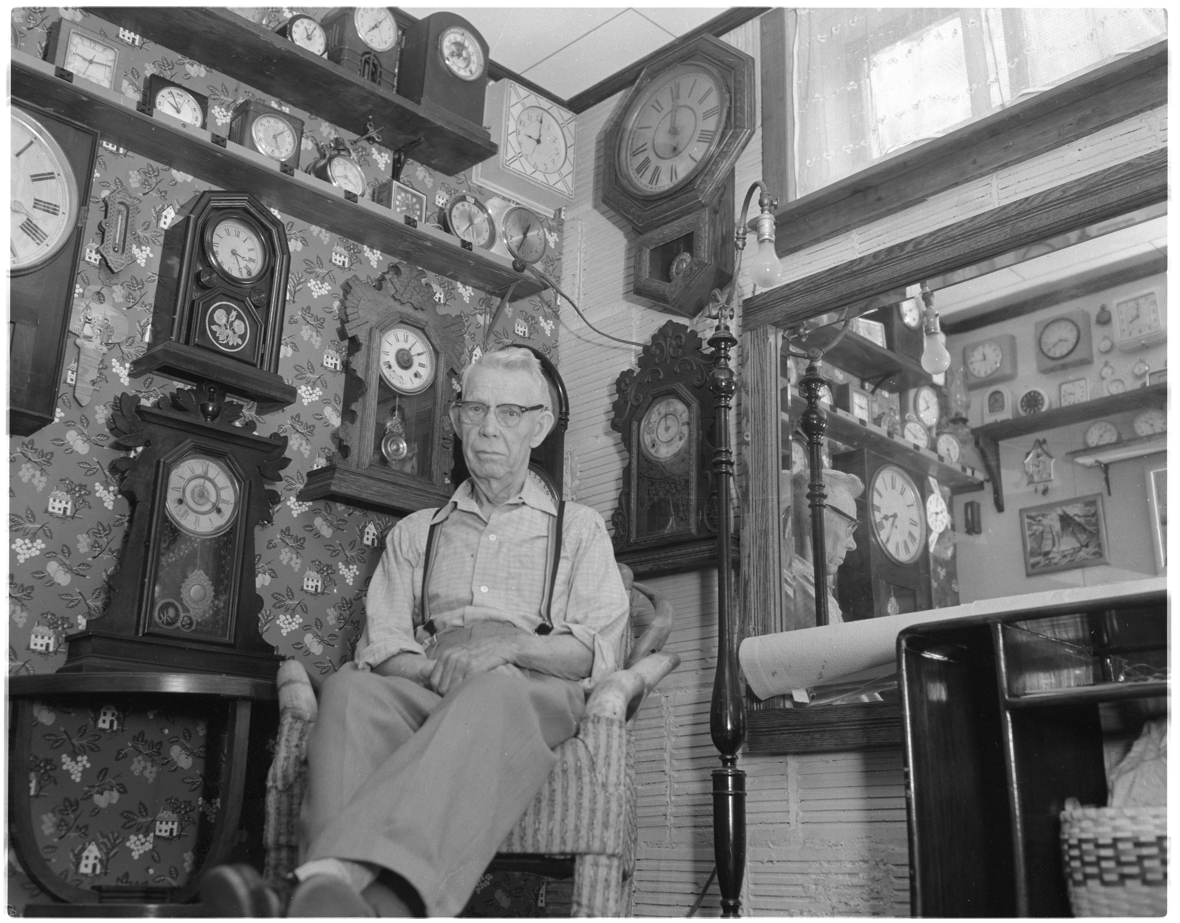 Fred Foster With His Clock Collection, July 1961 image
