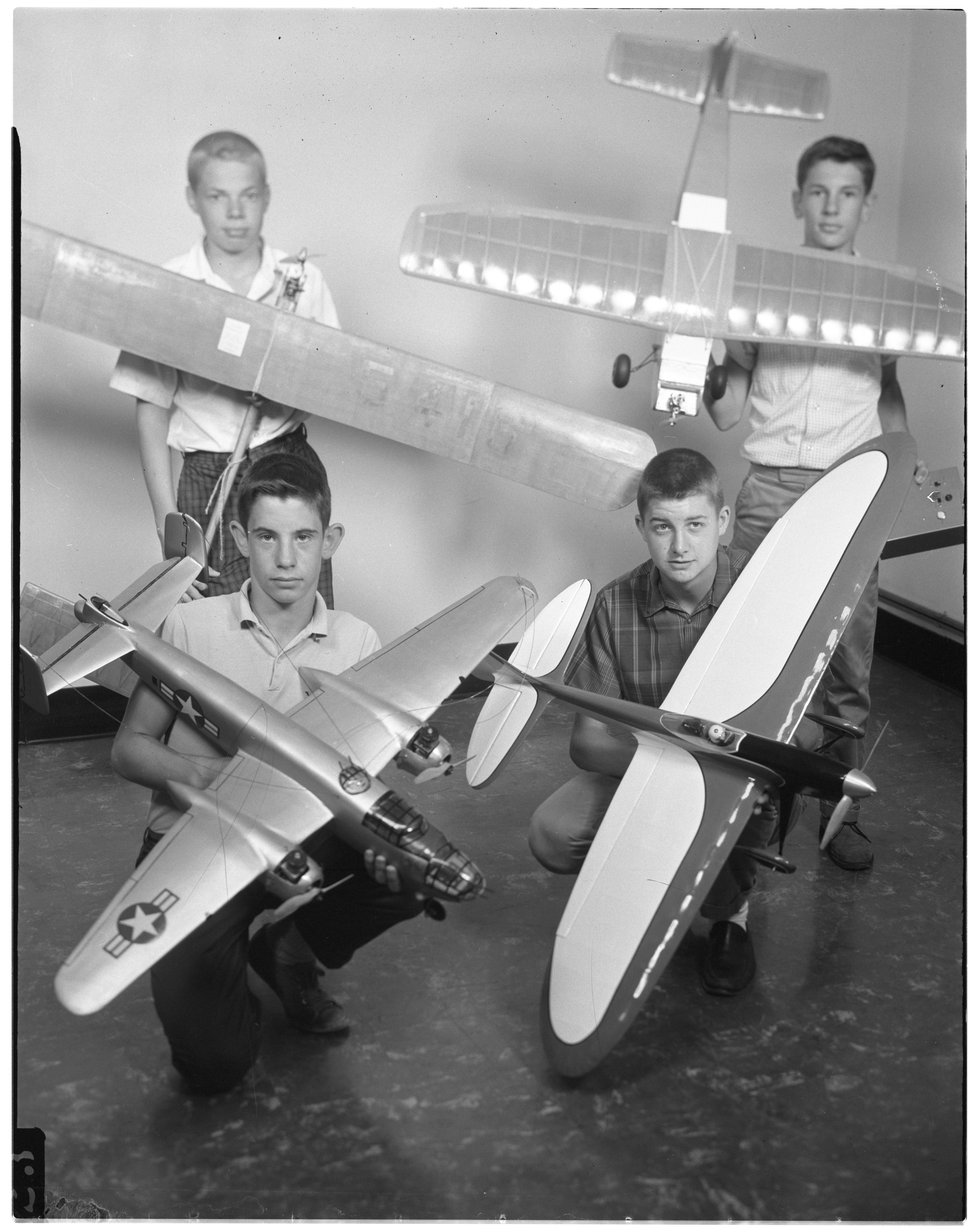 Young Model Airplane Enthusiasts Display Their Models To Be Shown At Ann Arbor Airfoilers Contest, August 1961 image