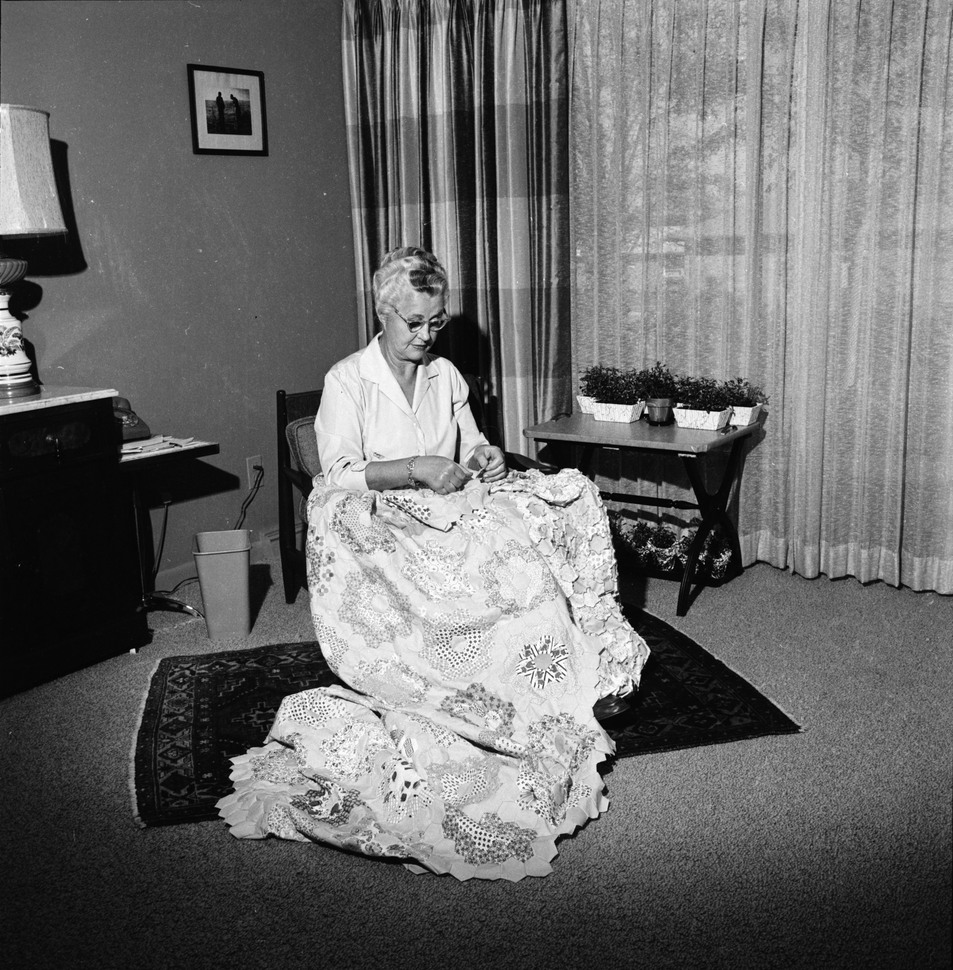 Charlotte Houck Sews A Quilt, October 1961 image
