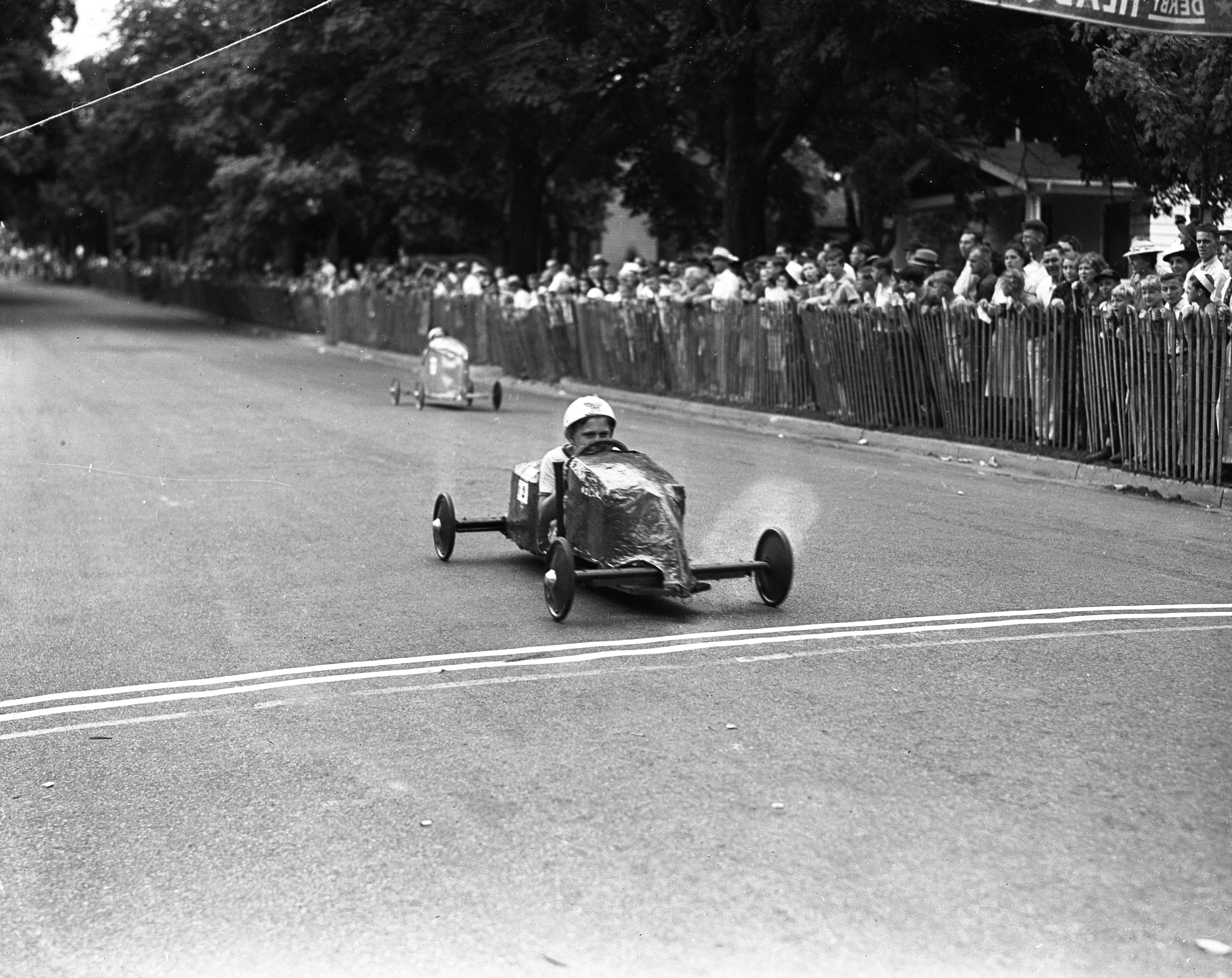 George Crandall at the Soap Box Derby Finish Line, July 1939 image