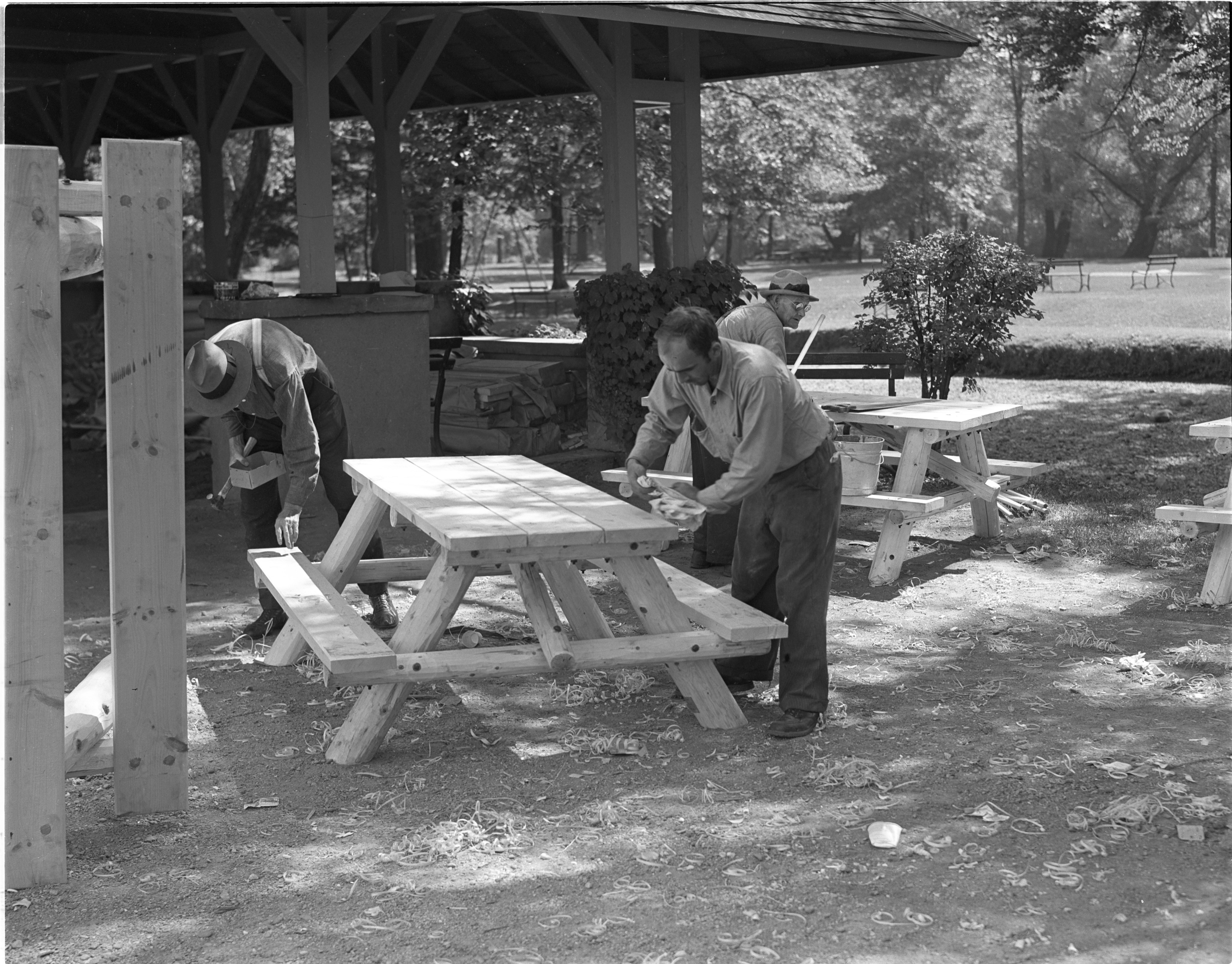 Ann Arbor Park Department Employees Assemble New Picnic Tables At Island Park, August 1939 image