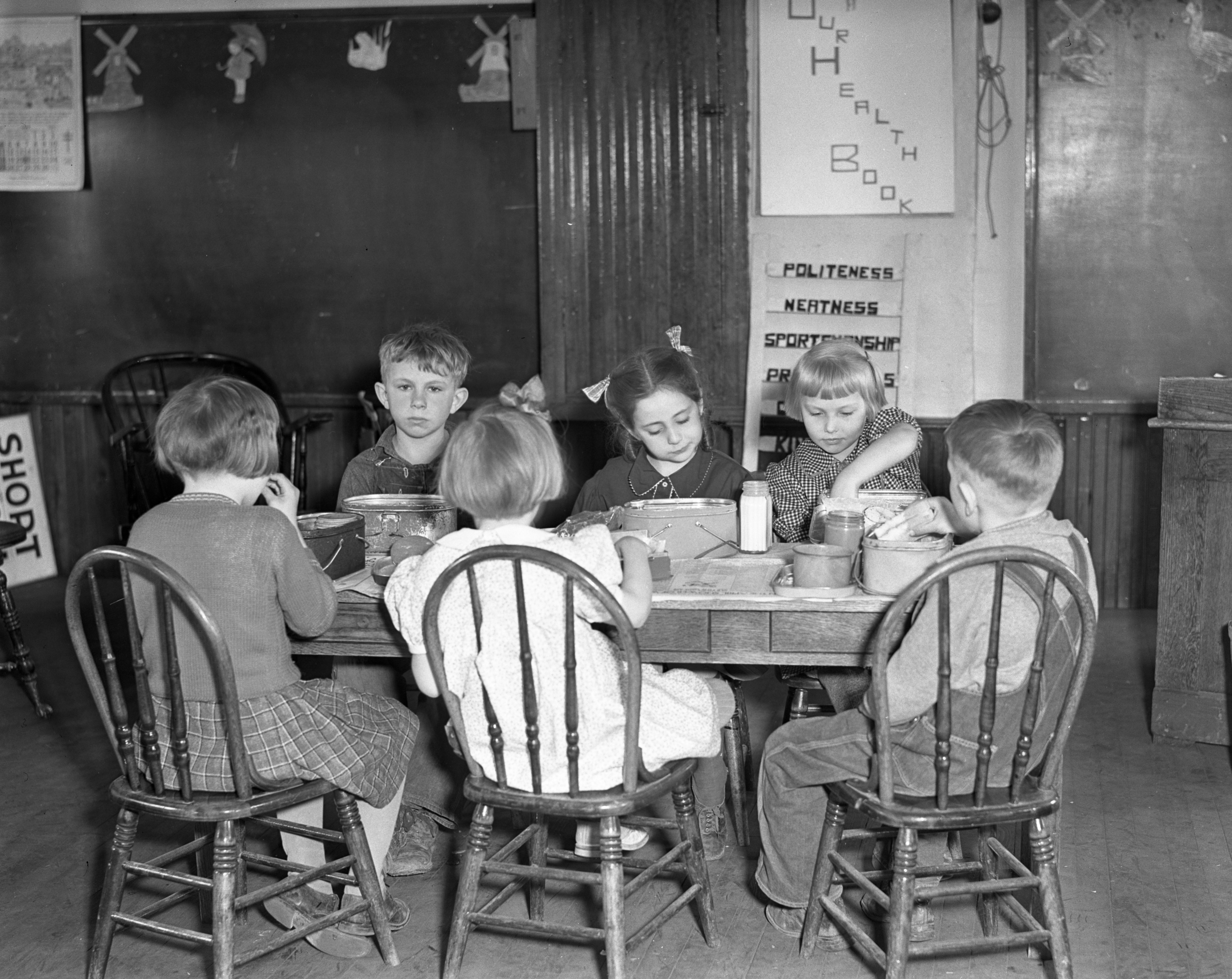 Lunch Time at Short School In Bridgewater Township, April 1937 image