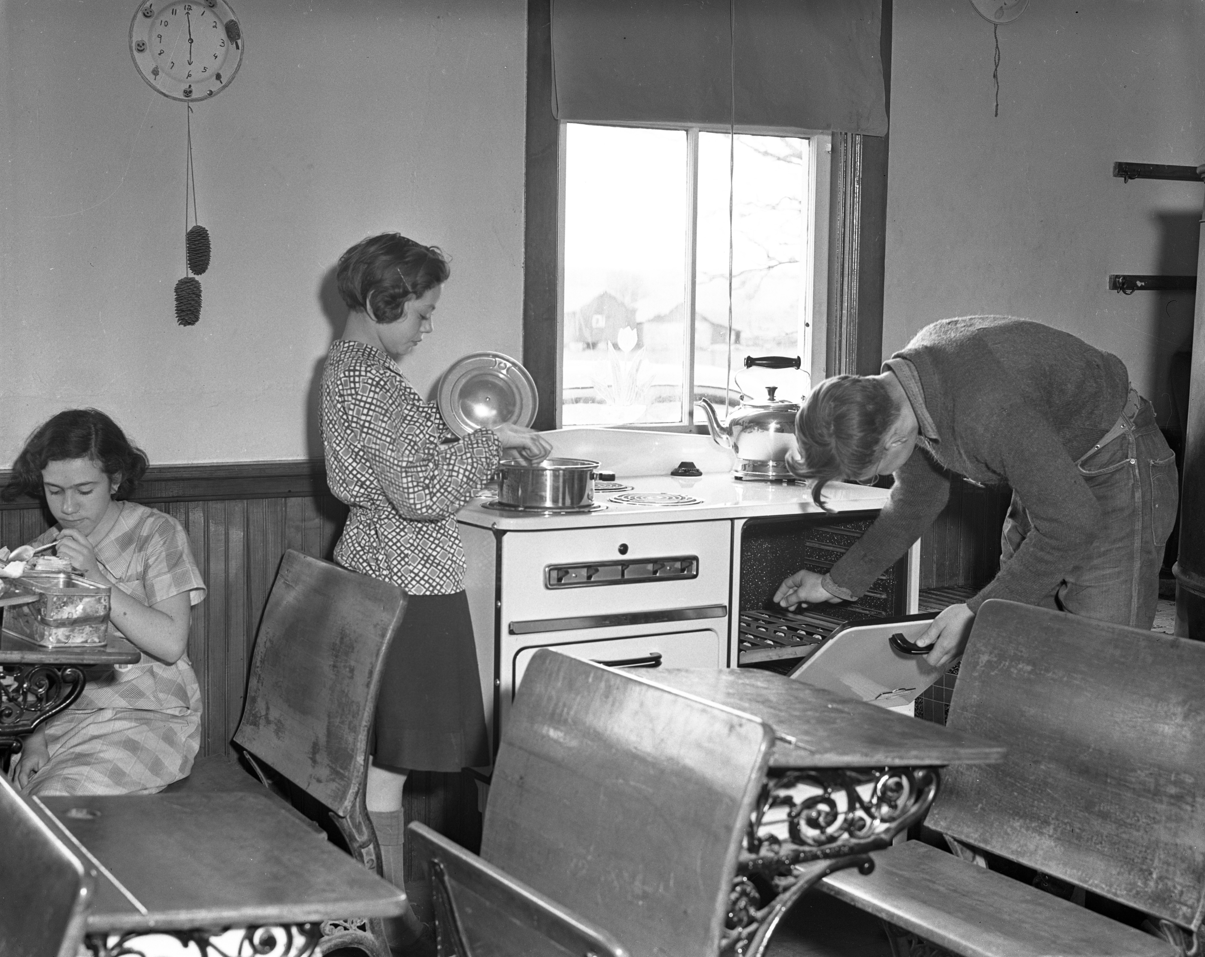 Cooking Lunch at Short School In Bridgewater Township, April 1937 image