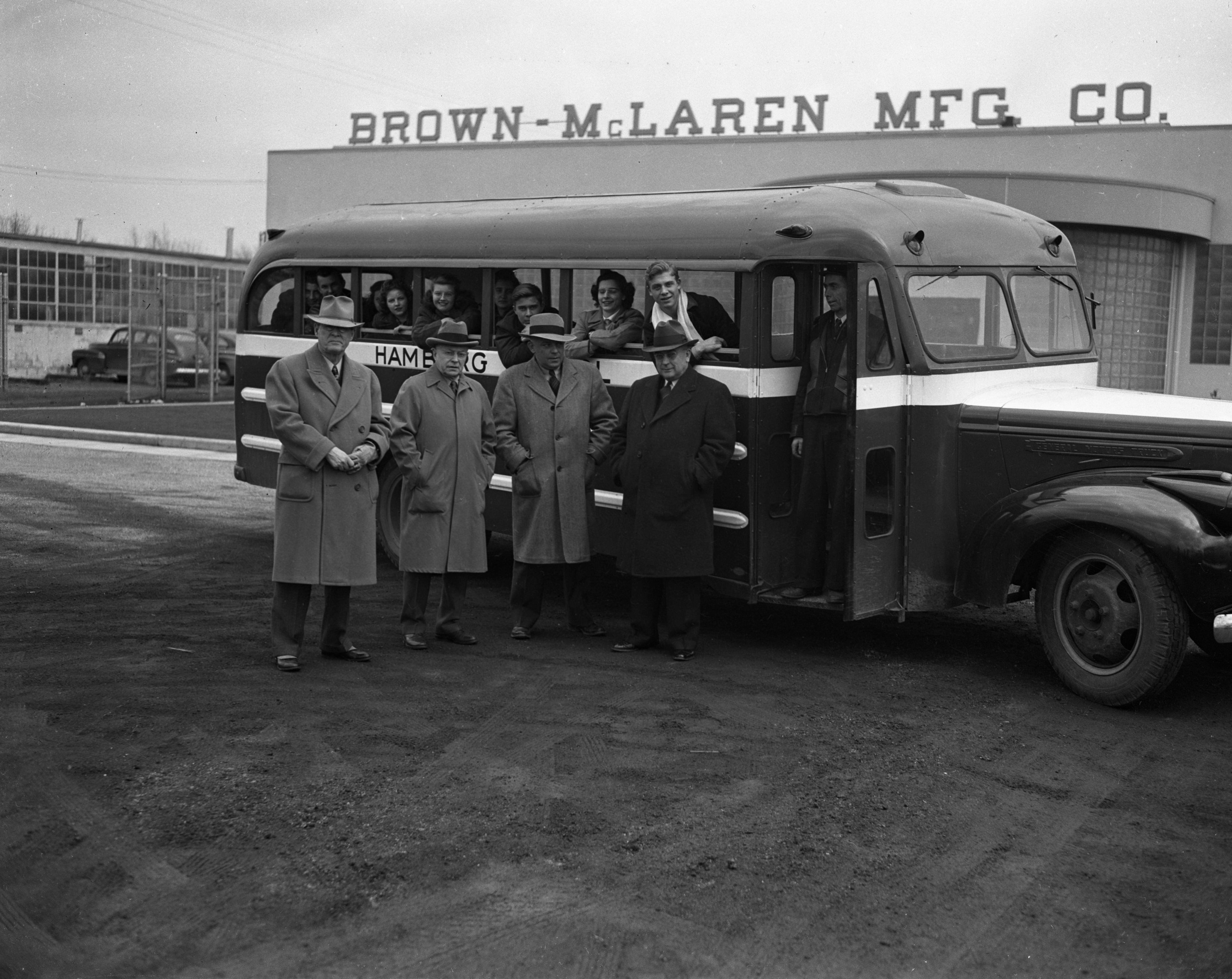 Hamburg bus purchased by Brown-McLaren Manufacturing to transport Hamburg children to Ann Arbor schools, March 1944 image