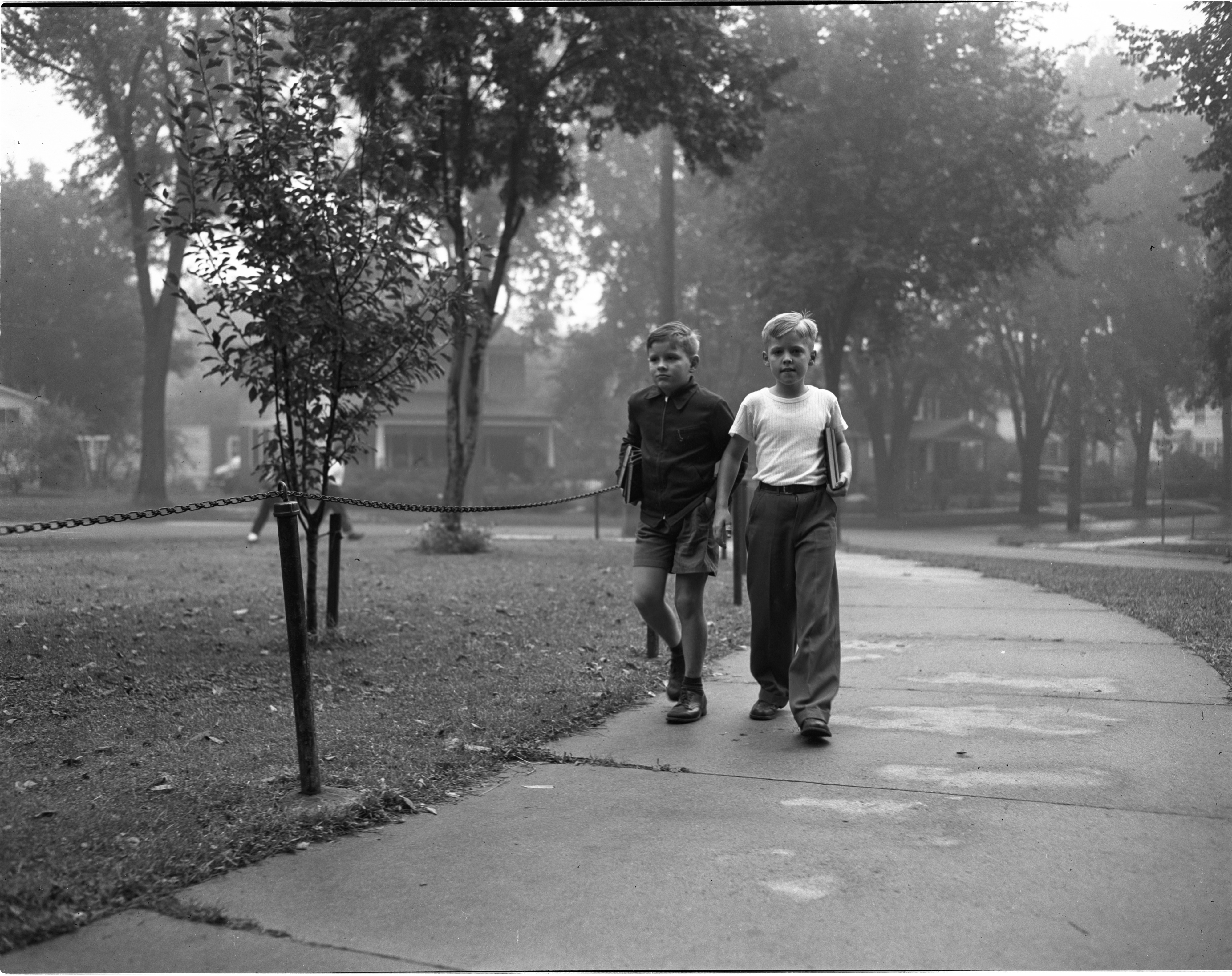 Bill Van Hettinga & Bruce McEwen Walk To Eberbach On The First Day Of School, September 1946 image