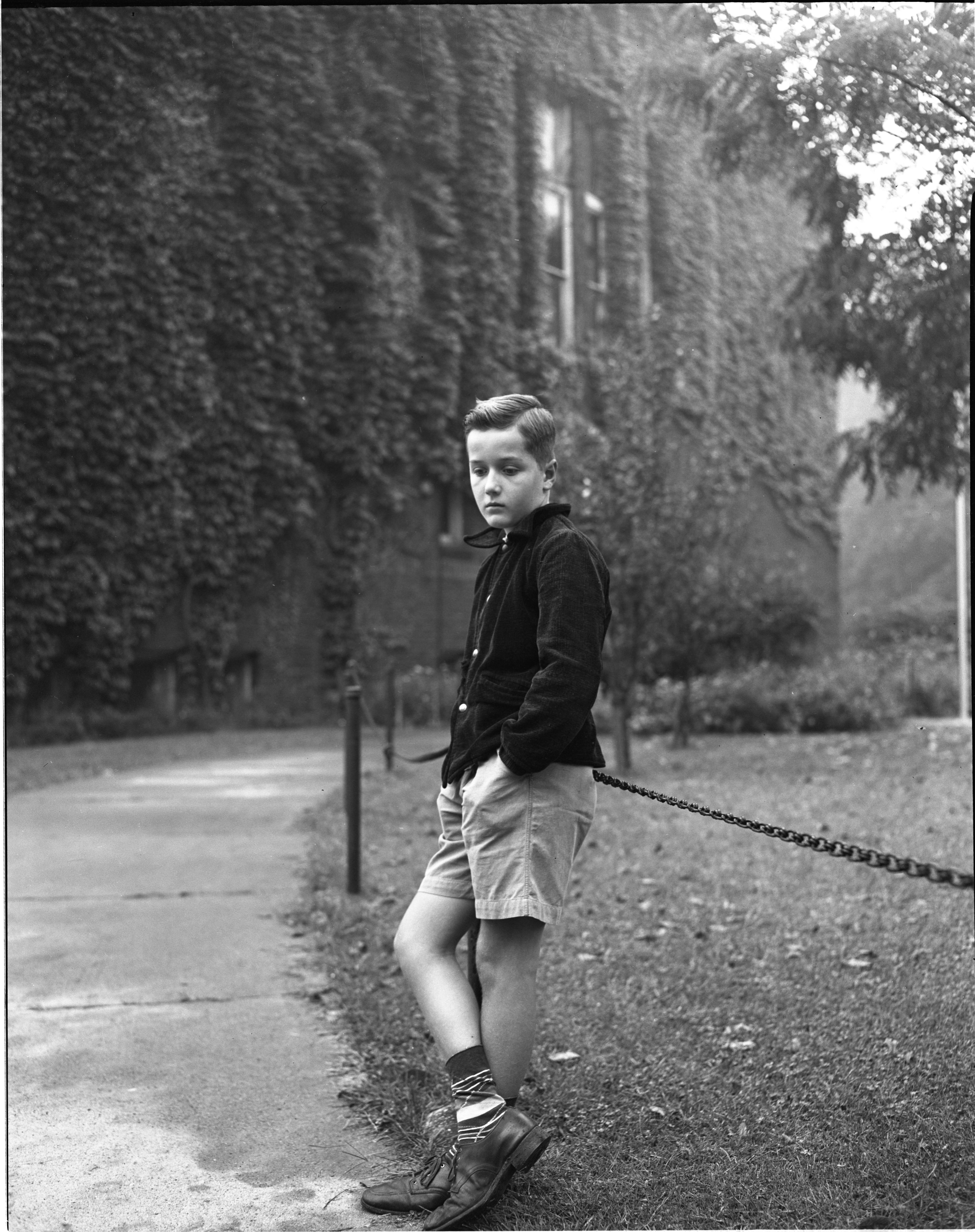 Jimmie Tanner Lingers Outside Eberbach On The First Day Of School, September 1946 image