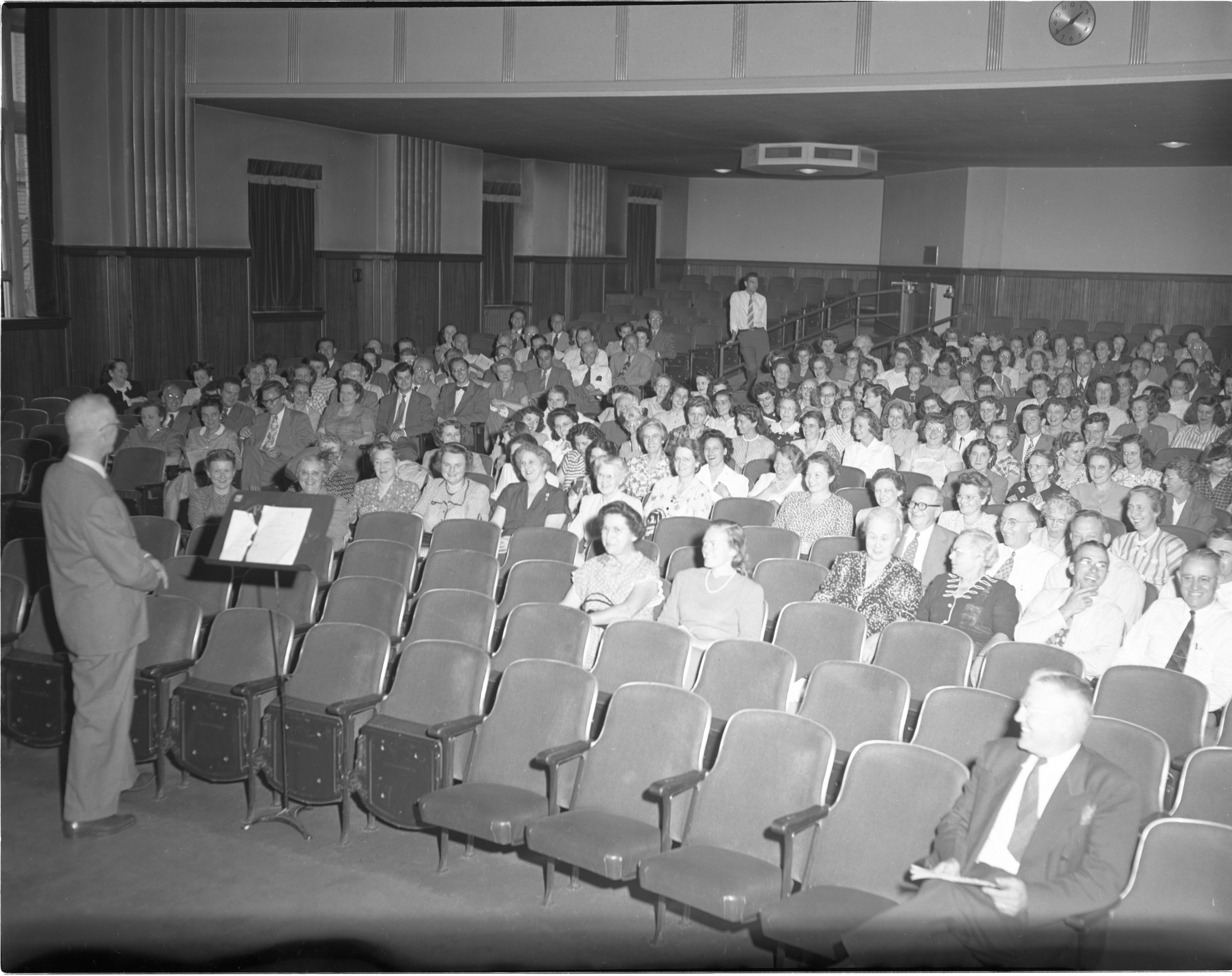 Ann Arbor Public Schools Superintendent Otto W. Haisley Speaks To Teachers At An All-Faculty Meeting, September 1948 image