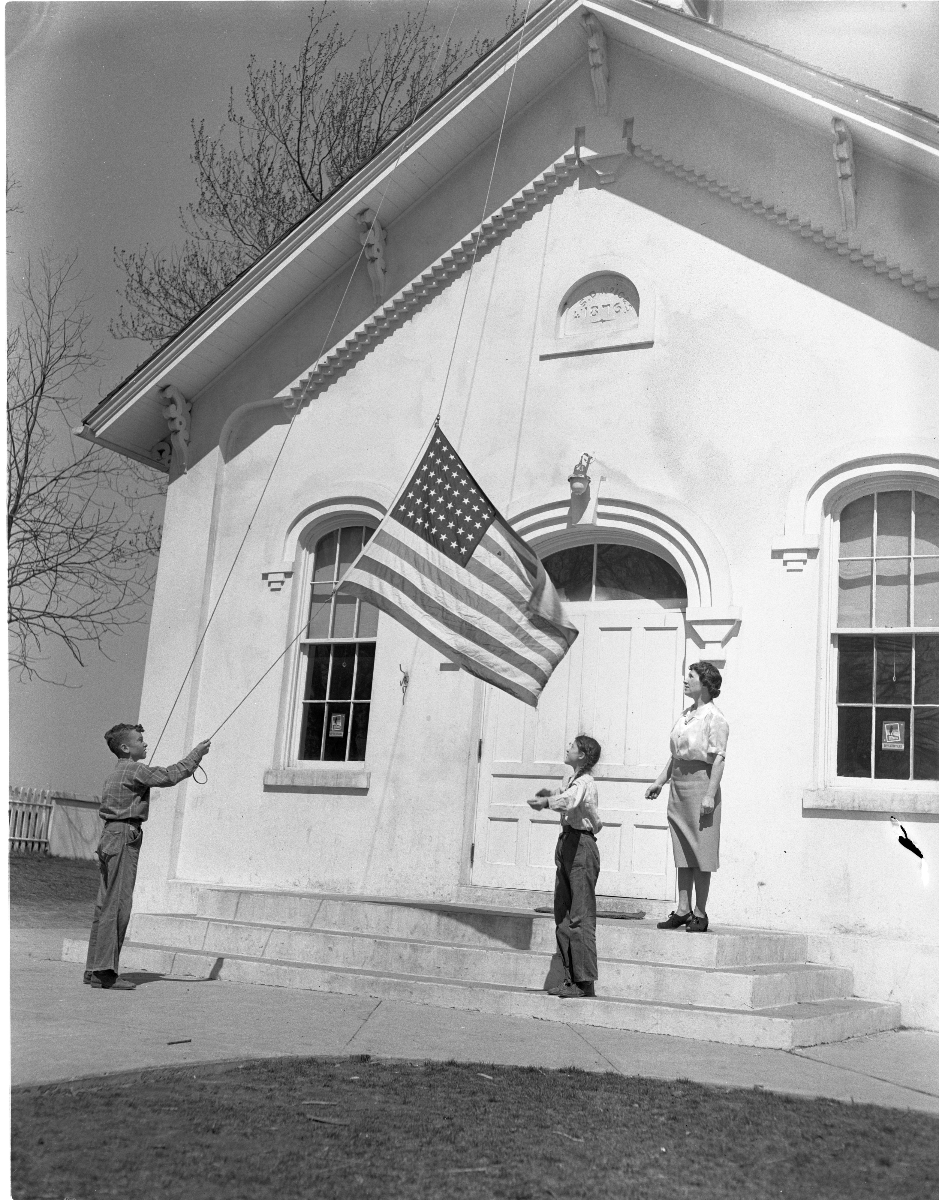Flag Raising At Cherry Hill School, April 1949 image