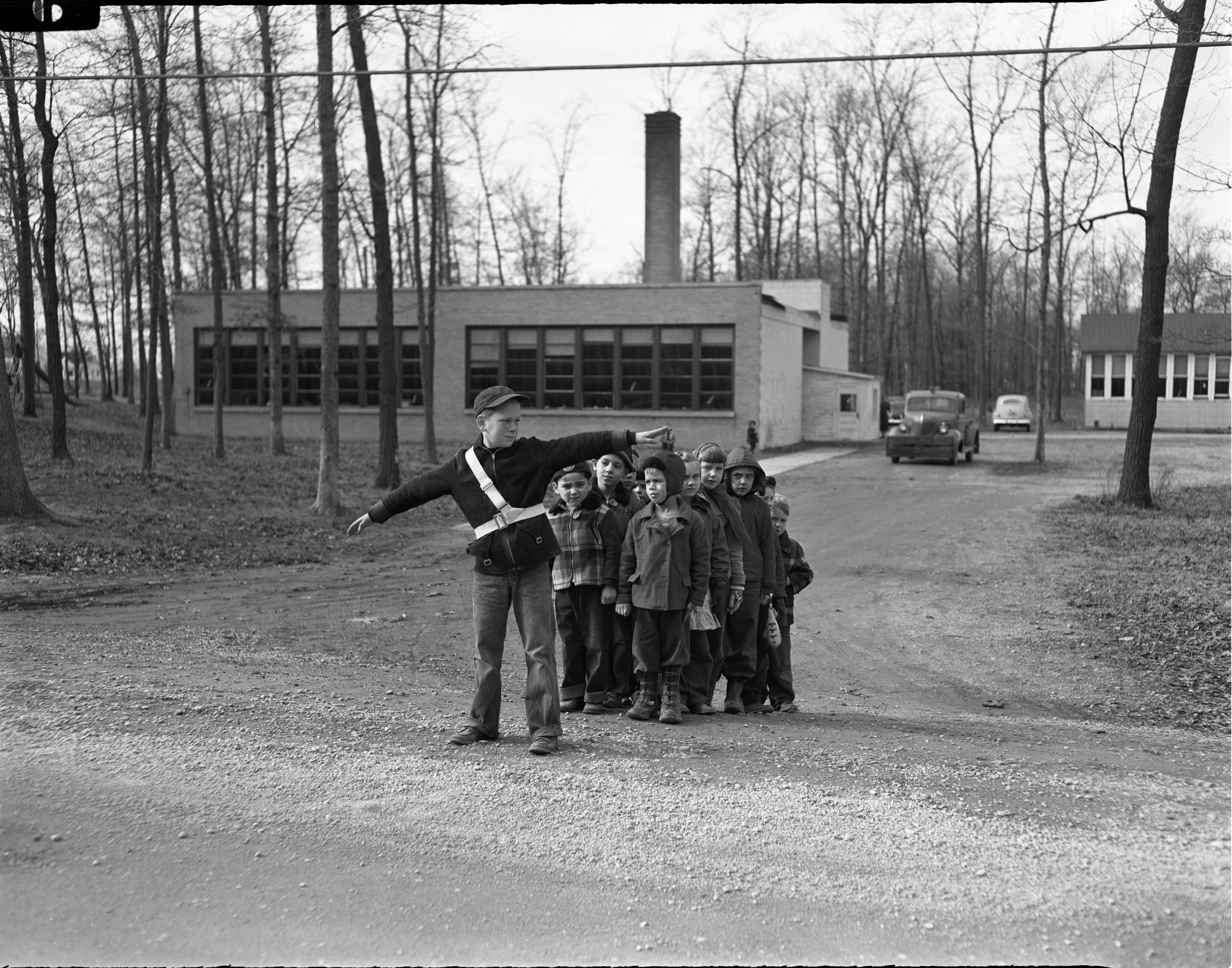 Roger Holcomb Performs Safety Patrol Duties At Fritz School, December 1951 image
