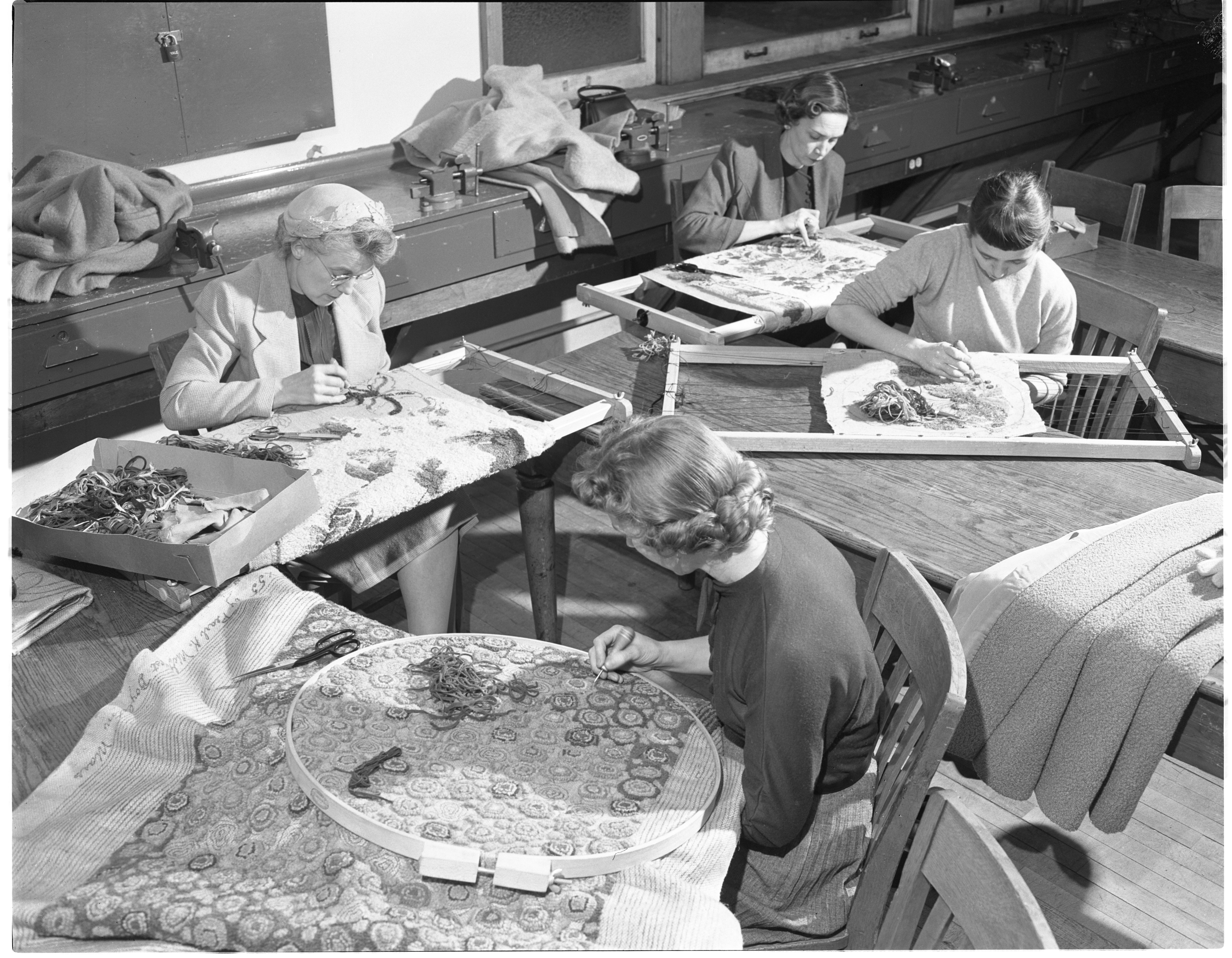 Ann Arbor Public Evening School - Rug Hooking Class, February 1955 image