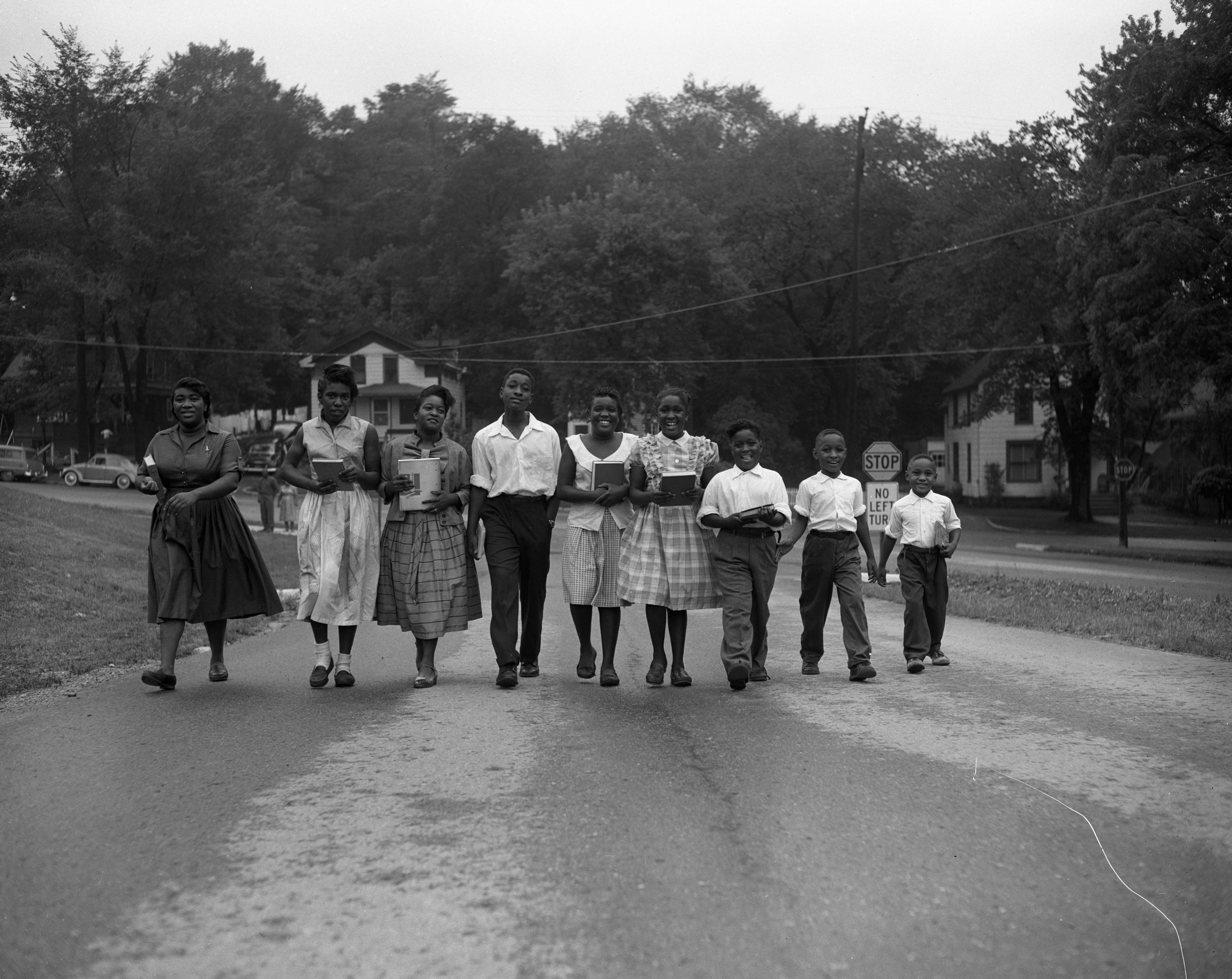 Nine children in the Jimmie D. James family are ready to attend Ann Arbor Public Schools on Wednesday, September 1957 image