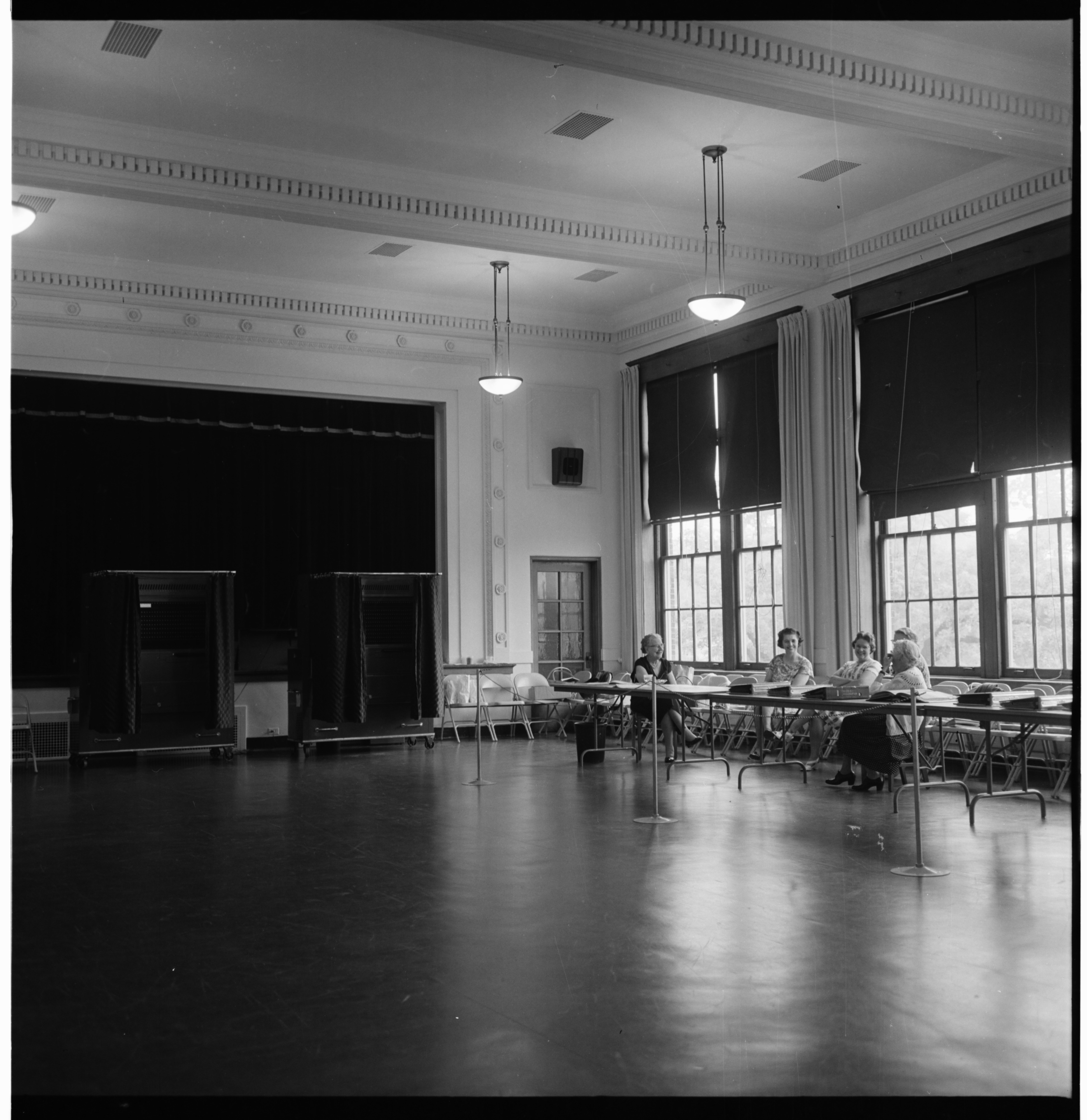 Voting Booths Open for Ann Arbor School Election at Jones School, June 1964 image