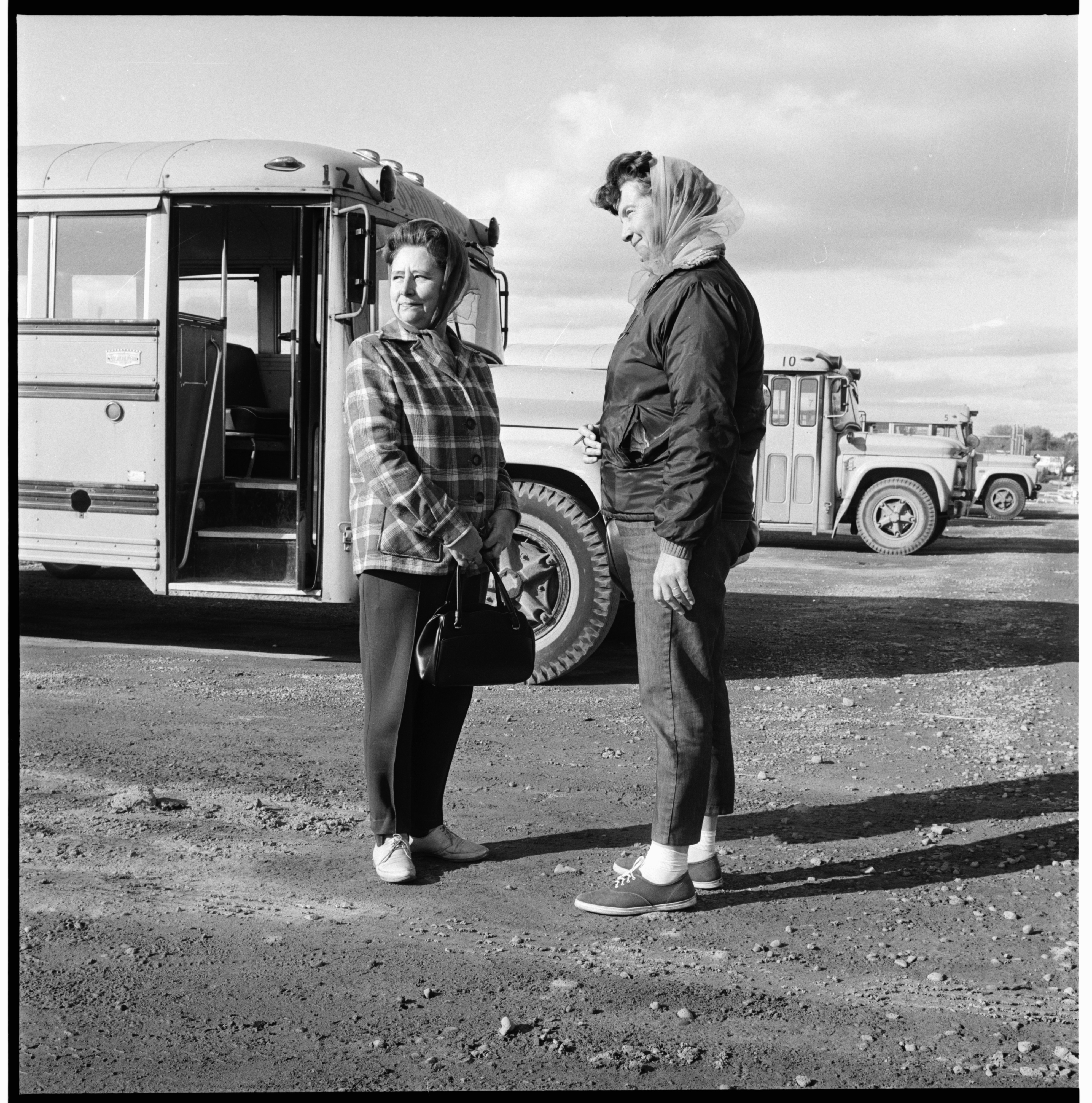 Bus Drivers Mrs. George Bock and Mrs. George Polliey, October 1968 image