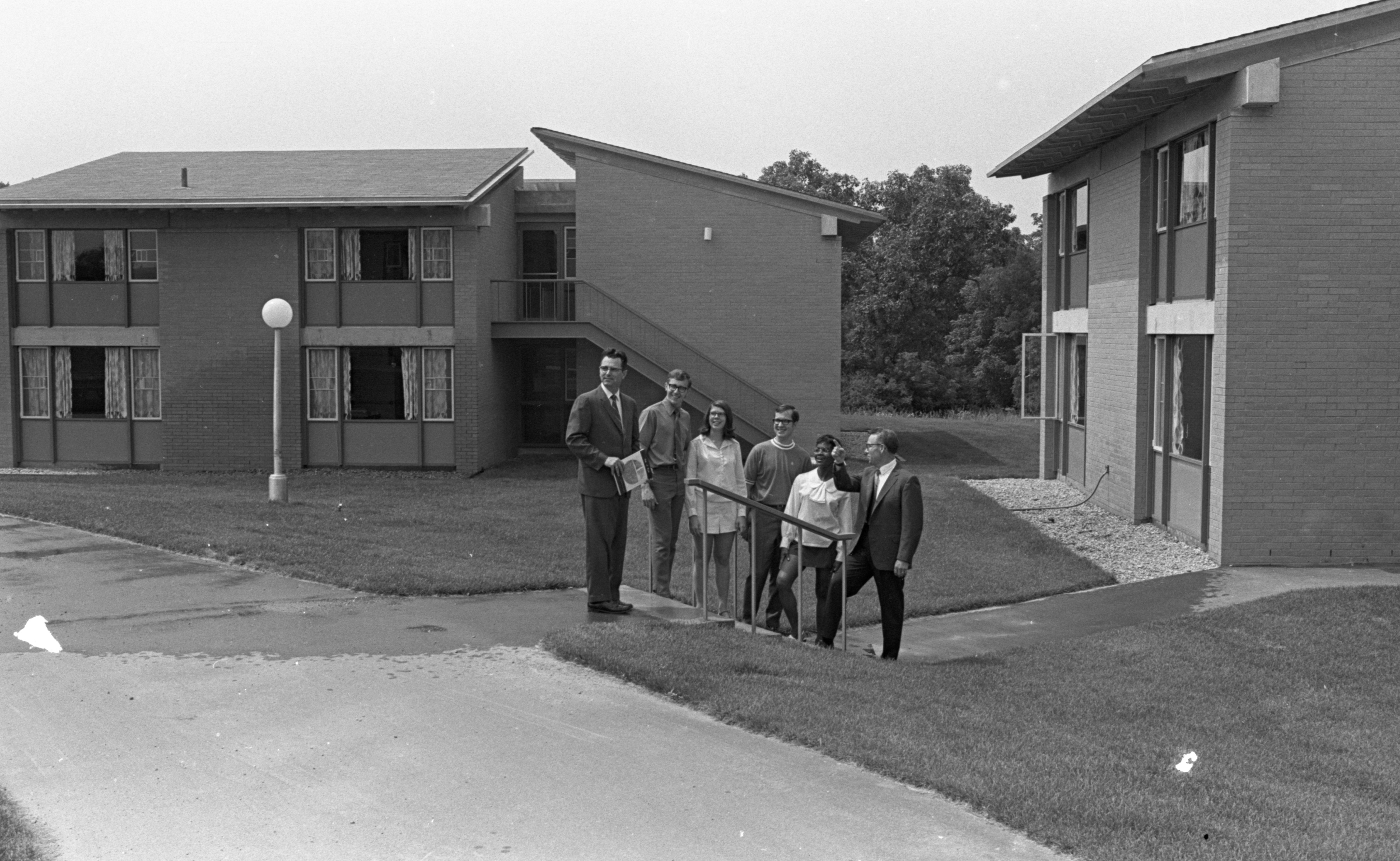 Students & Administration Stand In Front Of New Dormitories At Concordia Lutheran Junior College, August 1970 image